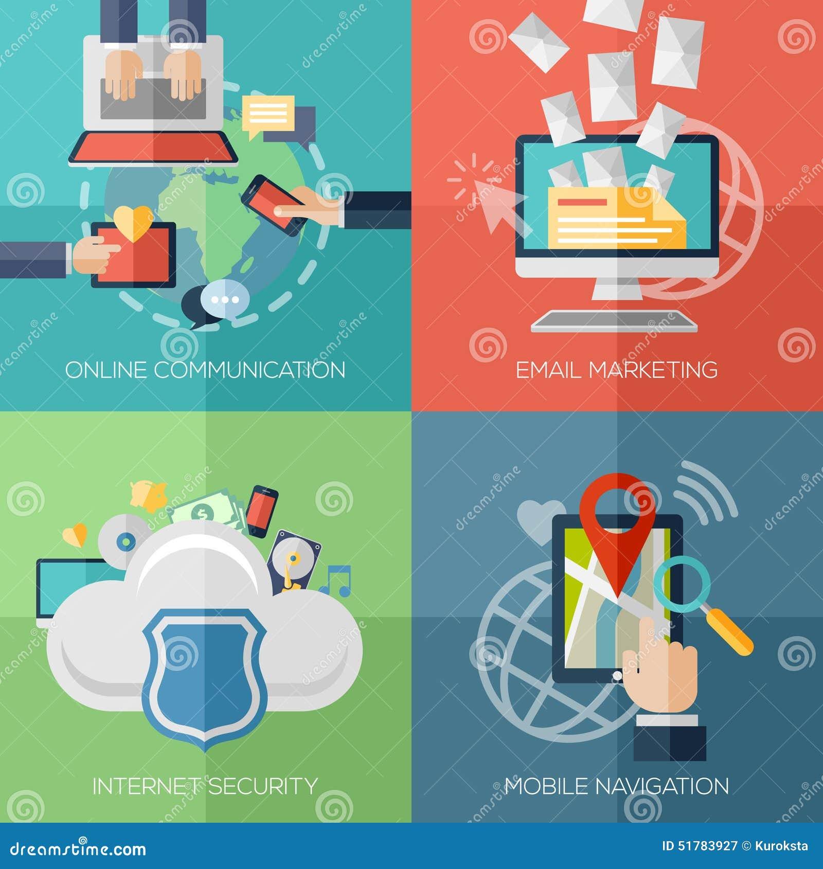 Vlakke ontwerpconcepten voor online mededeling