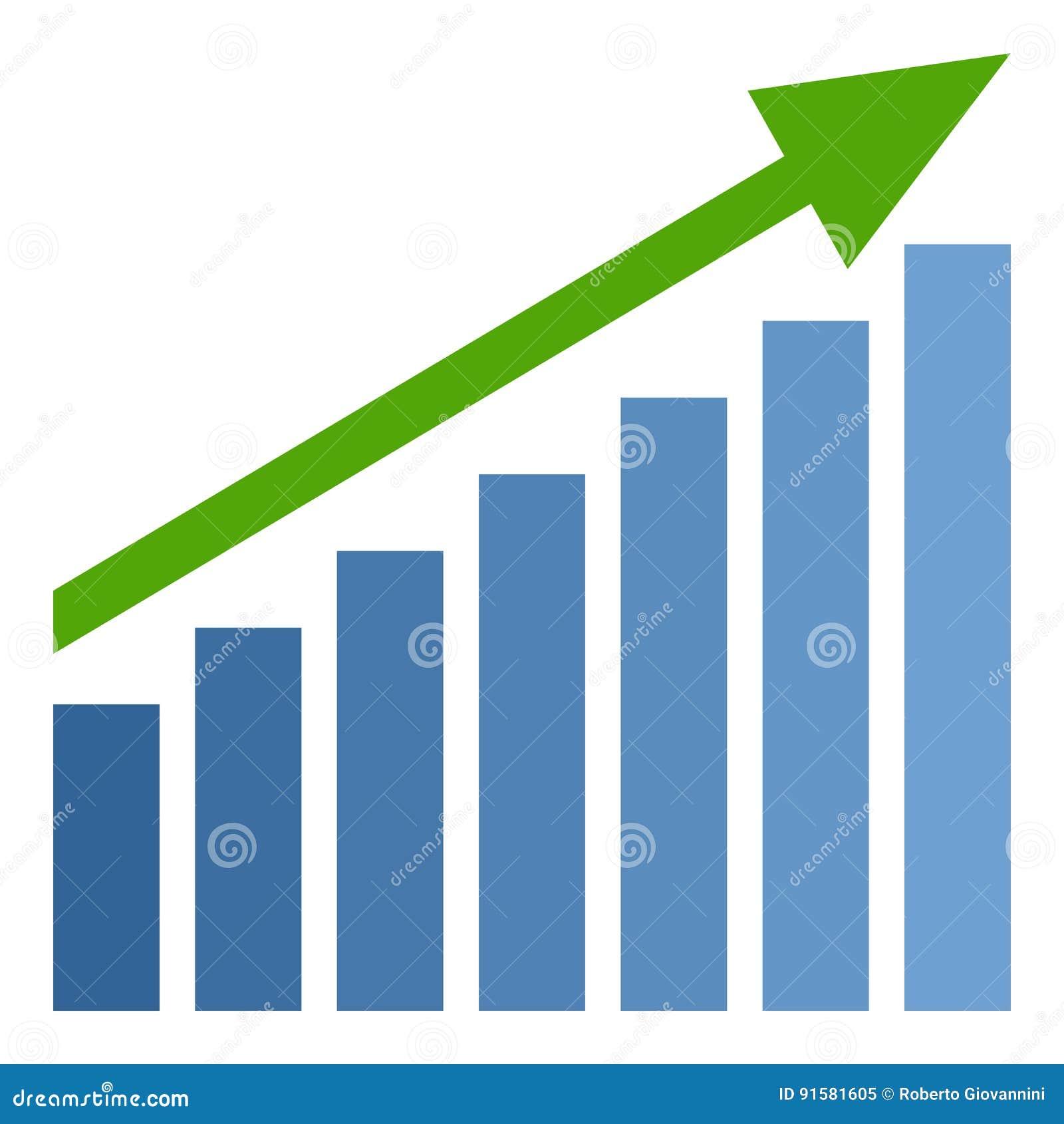 Vlakke Pictogram van de Grafiek het omhoog Groene Pijl op Wit