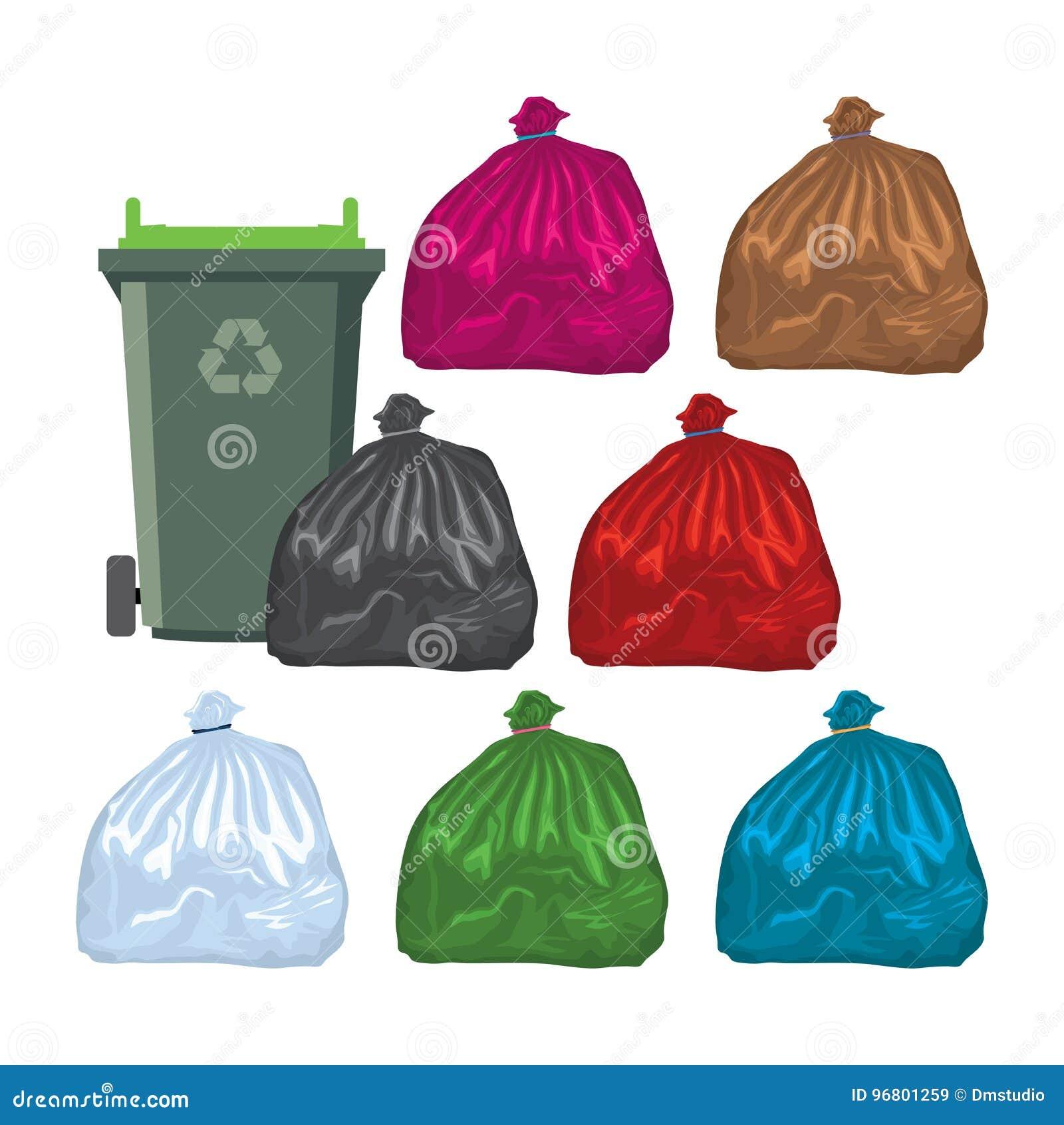 Vlakke recyclings wheelie bak met vuilniszakken