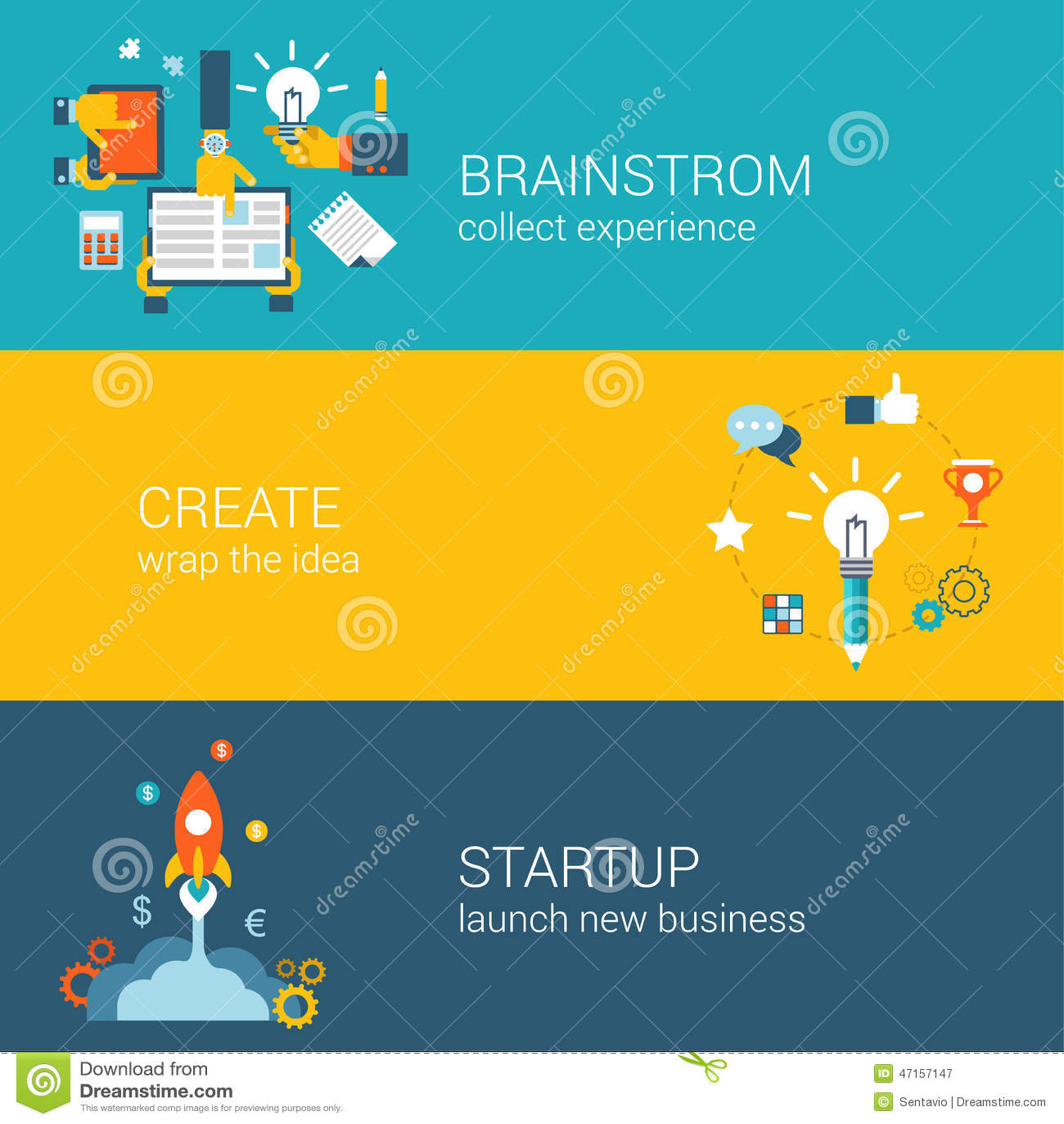 Vlakke stijlbrainstorming, ideeverwezenlijking, start infographic concept