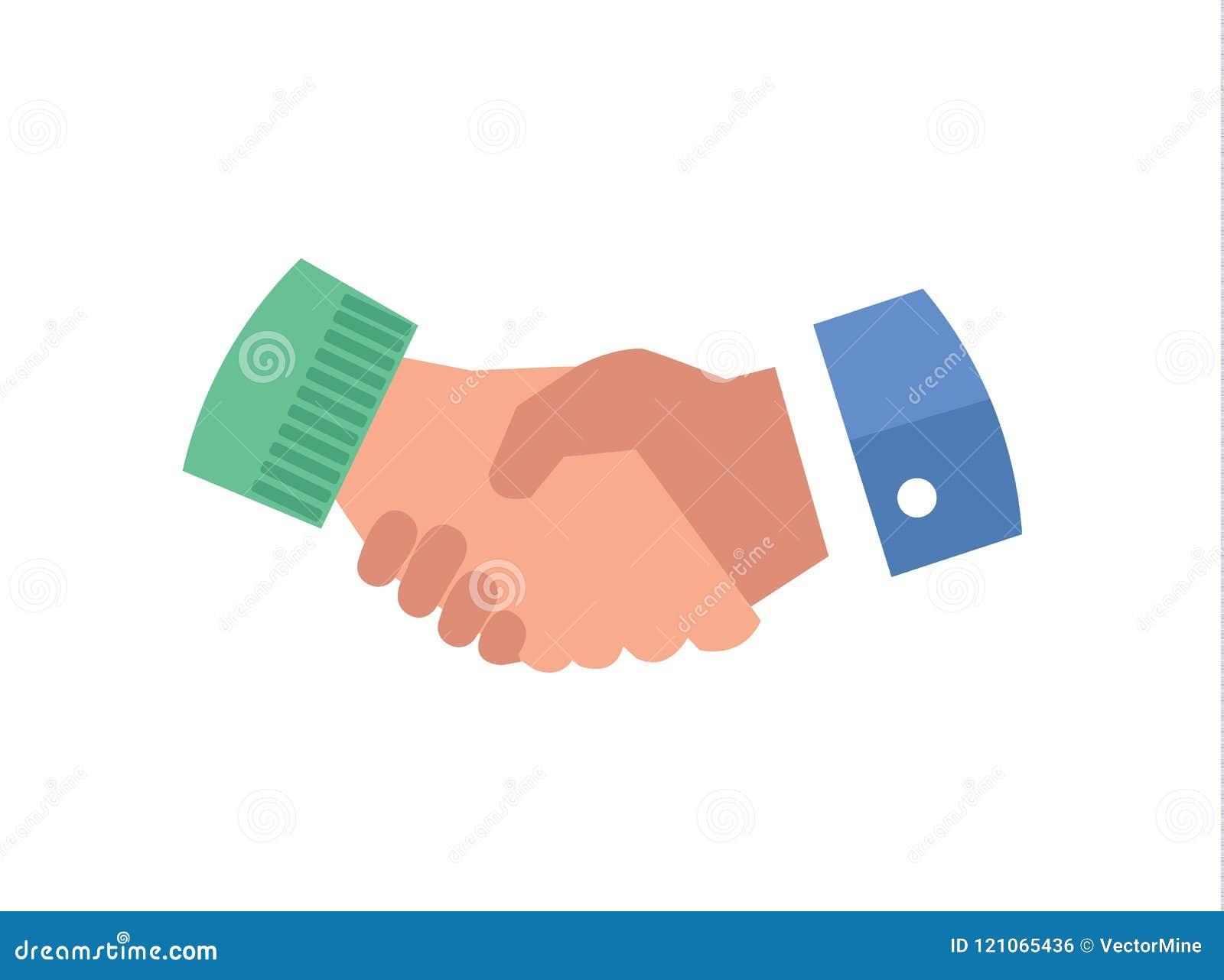 Vlakke vector het pictogramillustratie van de handschok Het symbool van de bedrijfsvennootschapsamenwerking, overeenkomst die ove
