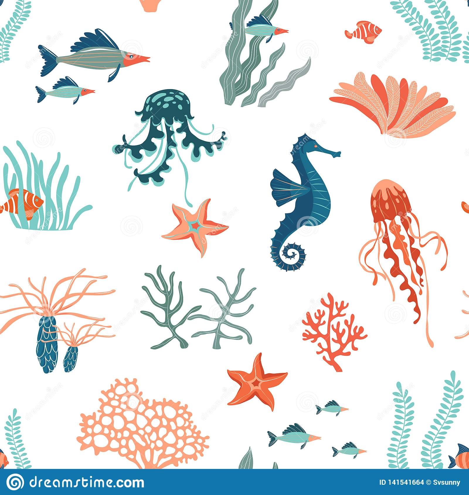 Vlakke vector naadloze het patroonachtergrond van Marine Life Het onderwaterdierenwild