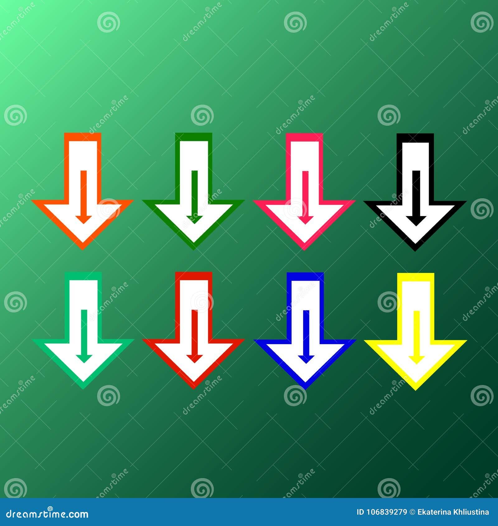 Vlakke vector: reeks van acht eenvoudige heldere multicolored pijlen op een groene achtergrond