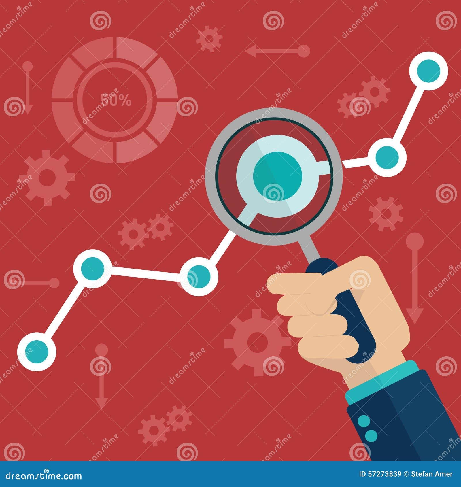 Vlakke vectorillustratie van de informatie van Webanalytics en de statistiek van de ontwikkelingswebsite