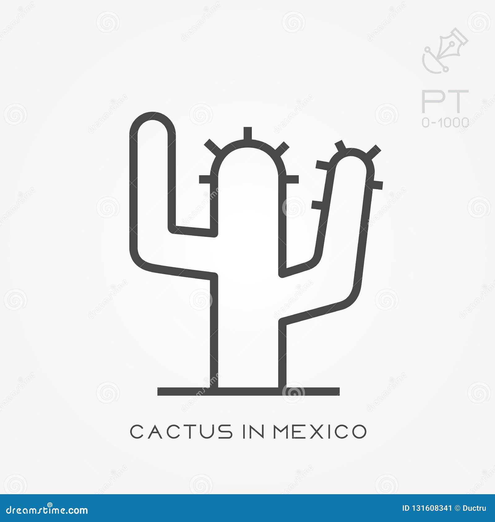 Vlakke vectorpictogrammen met cactus in Mexico