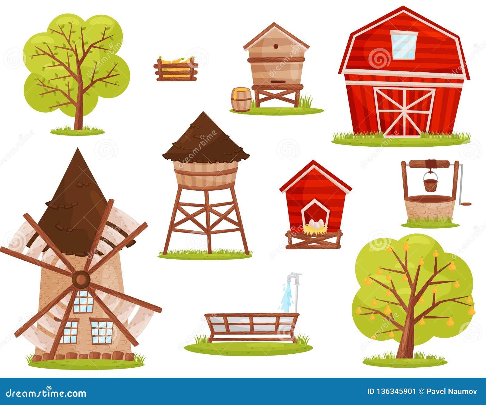 Vlakke vectorreeks landbouwbedrijfpictogrammen Gebouwen, bouw en fruitbomen Elementen voor mobiel spel of kinderenboek