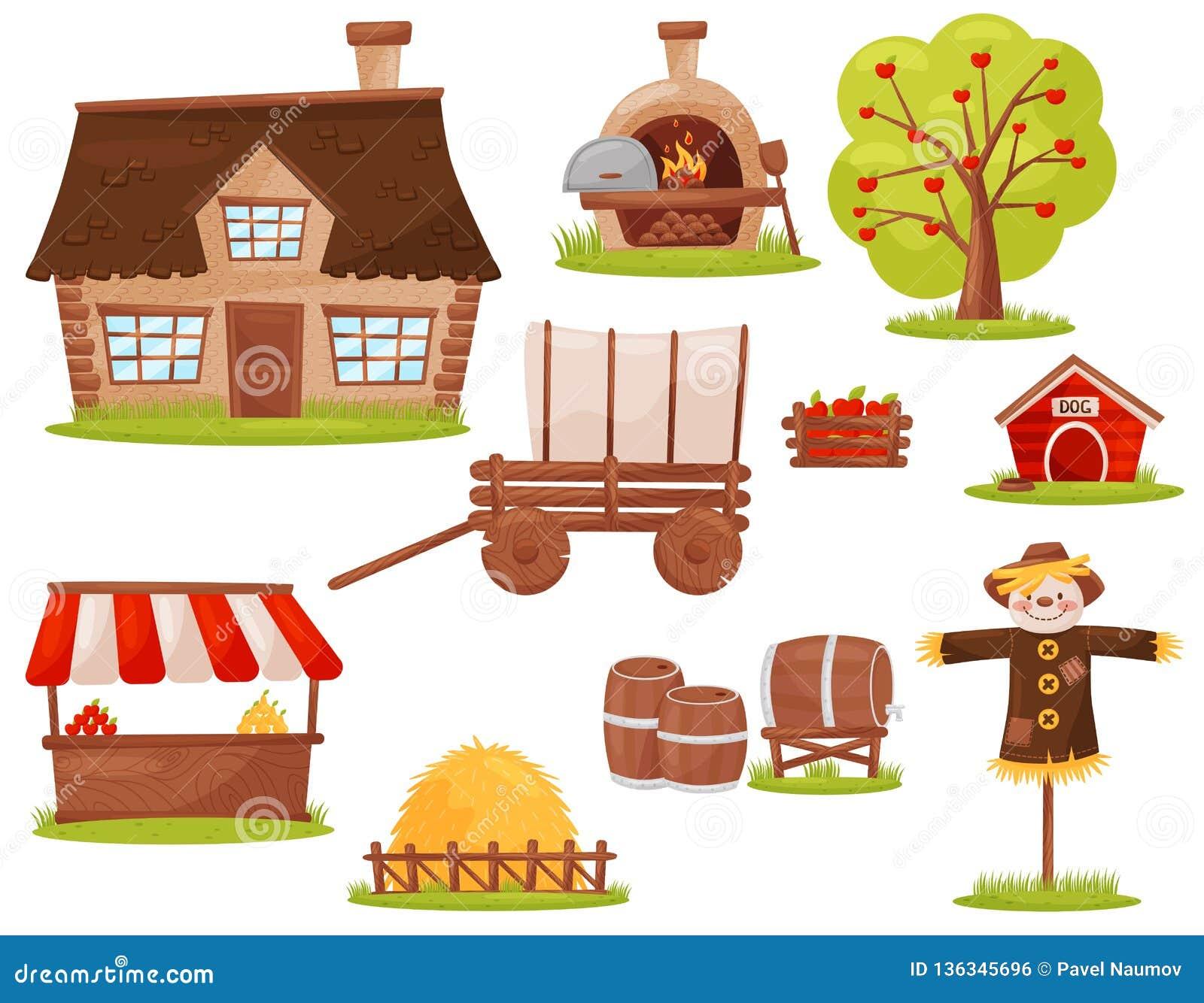 Vlakke vectorreeks landbouwbedrijfpictogrammen Plattelandshuisje, houten-in brand gestoken oven, fruitboom, stapel van hooi, mark