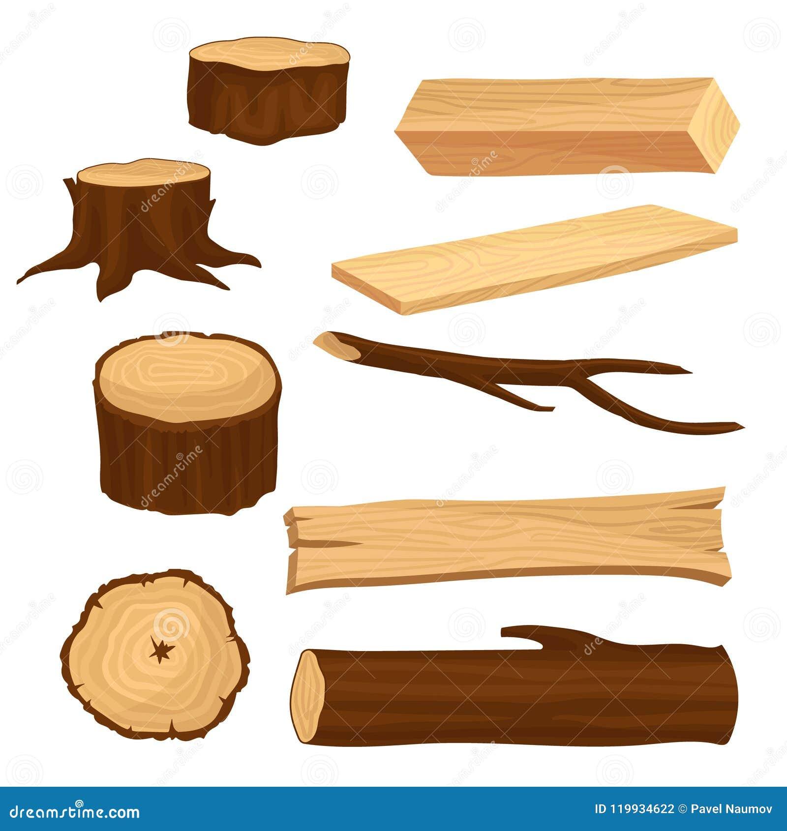 Vlakke vectorreeks materialen voor de houten industrie Oude boomstompen en tak, lange straal en planken, houten logboek naughty