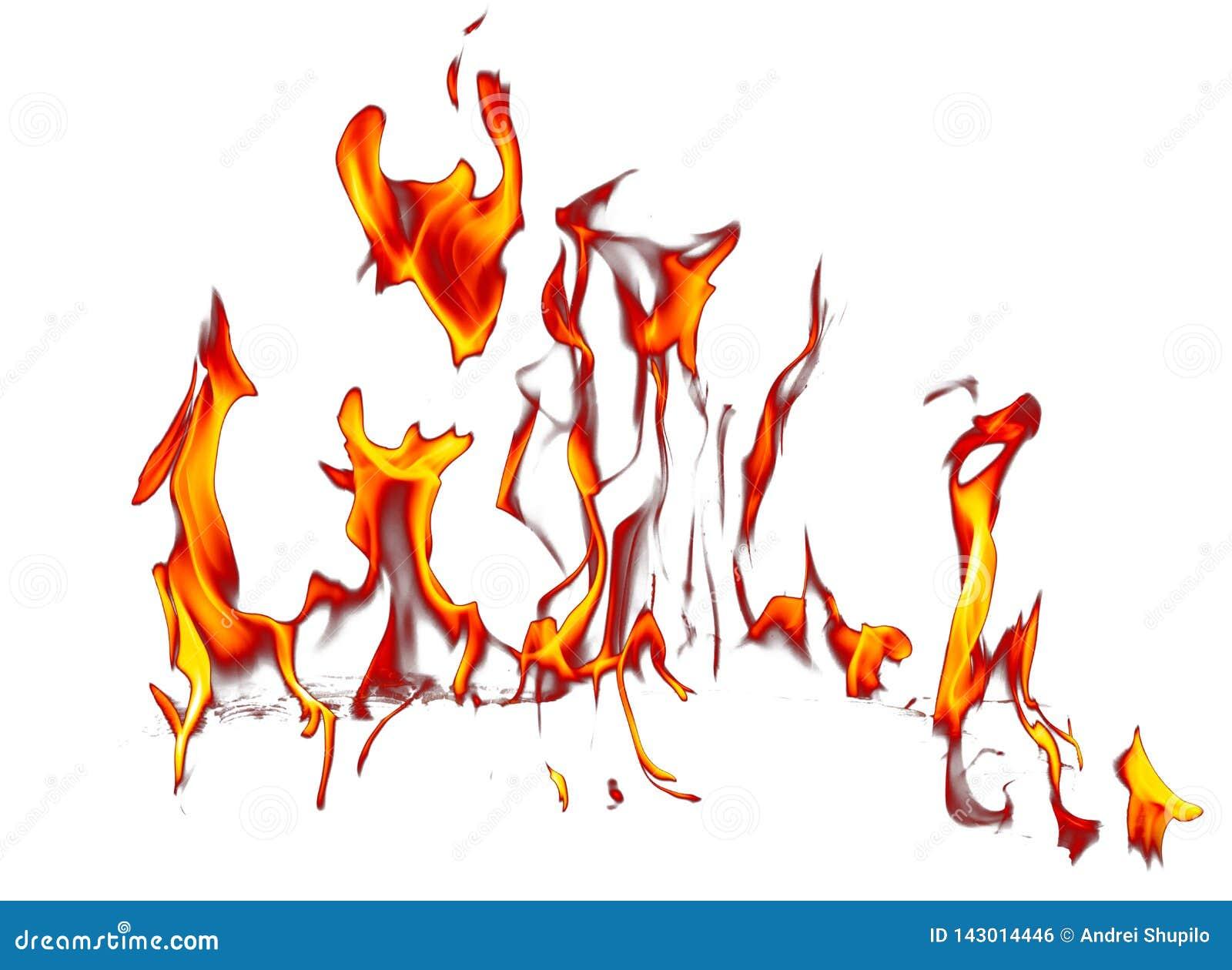 Vlam van brand die op witte achtergrond wordt geïsoleerd