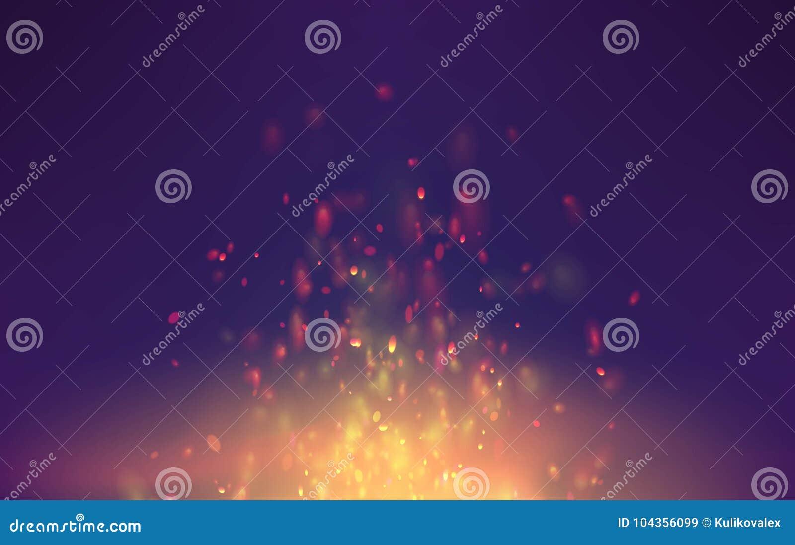 Vlam vectorachtergrond met vonkendeeltjes de fantasie vliegende vonken van de vuurrook