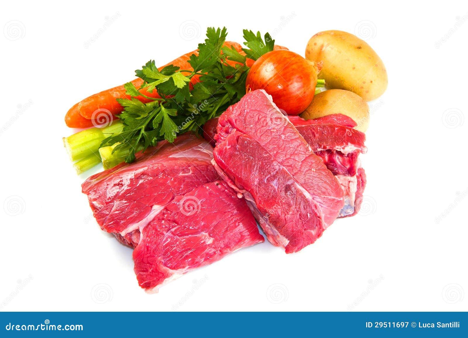 Vlees voor gekookt