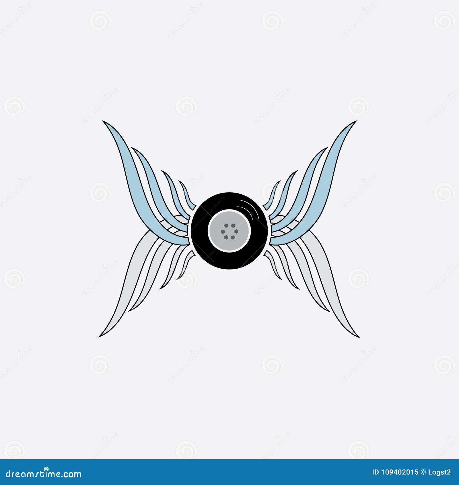 Vleugels met wiel vectorembleem De vectorreeks van het vleugelpictogram