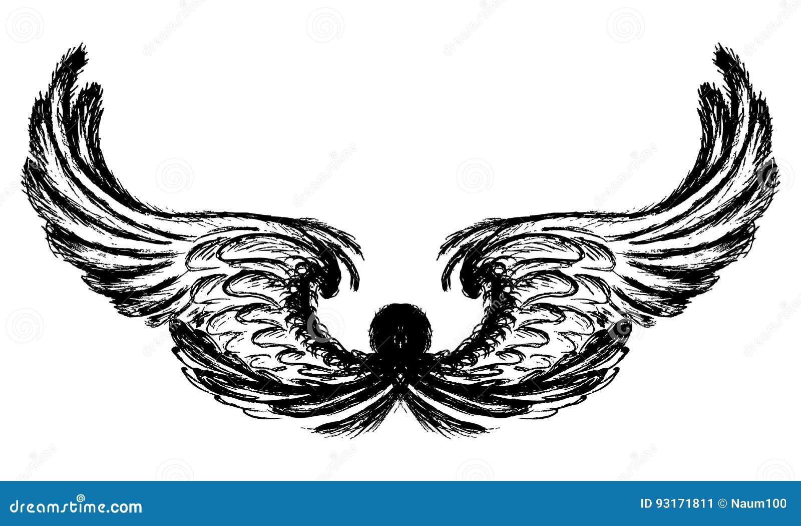 Vleugels op witte achtergrond, handtekening worden geïsoleerd die