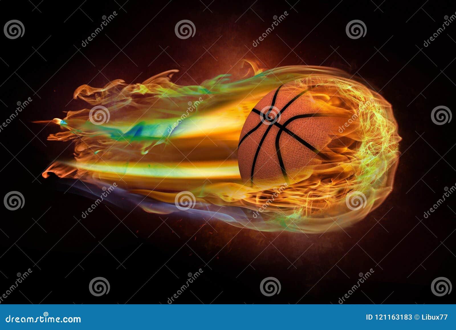 Vliegend basketbal op brand