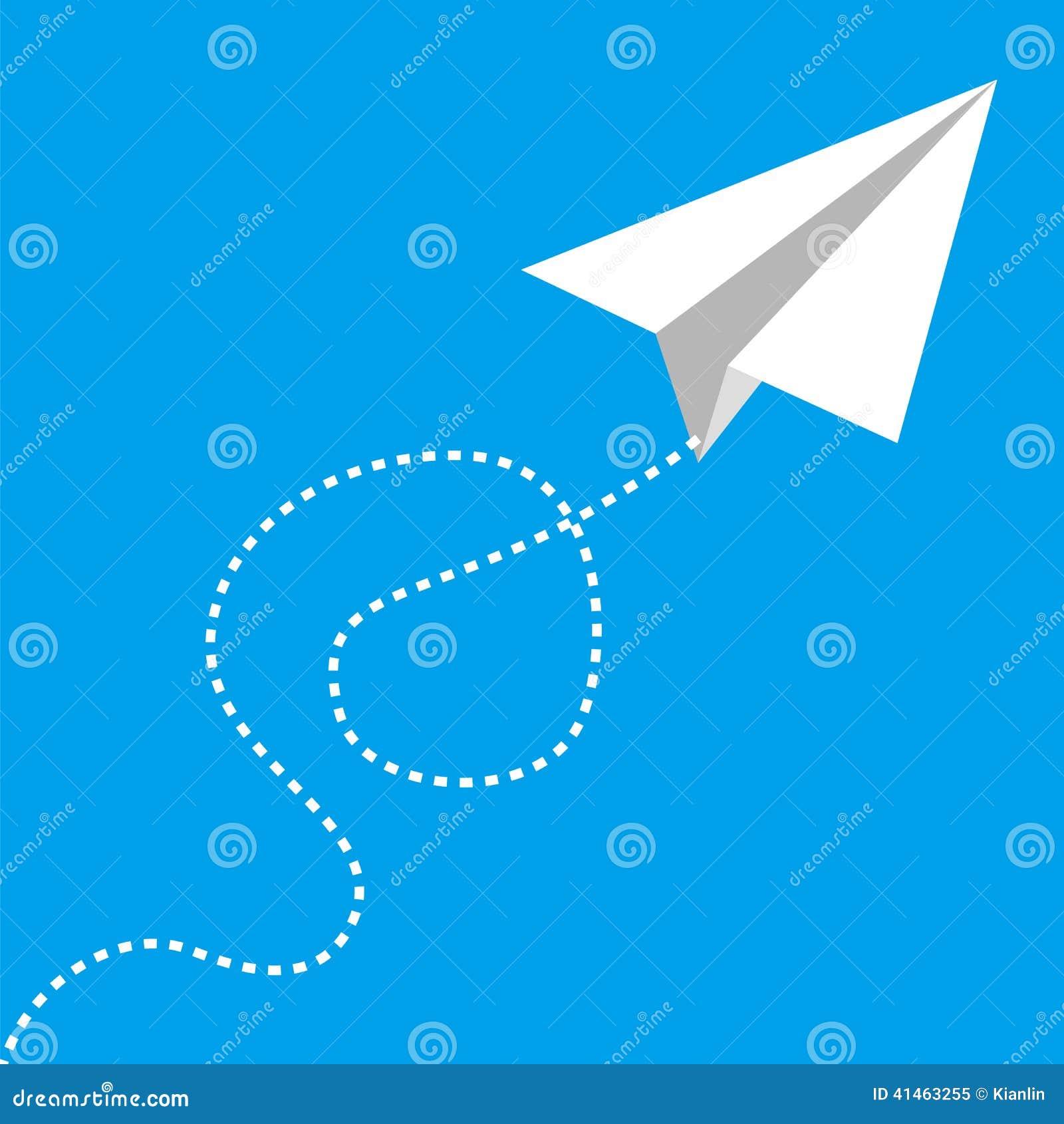 Vliegend document vliegtuig op blauw