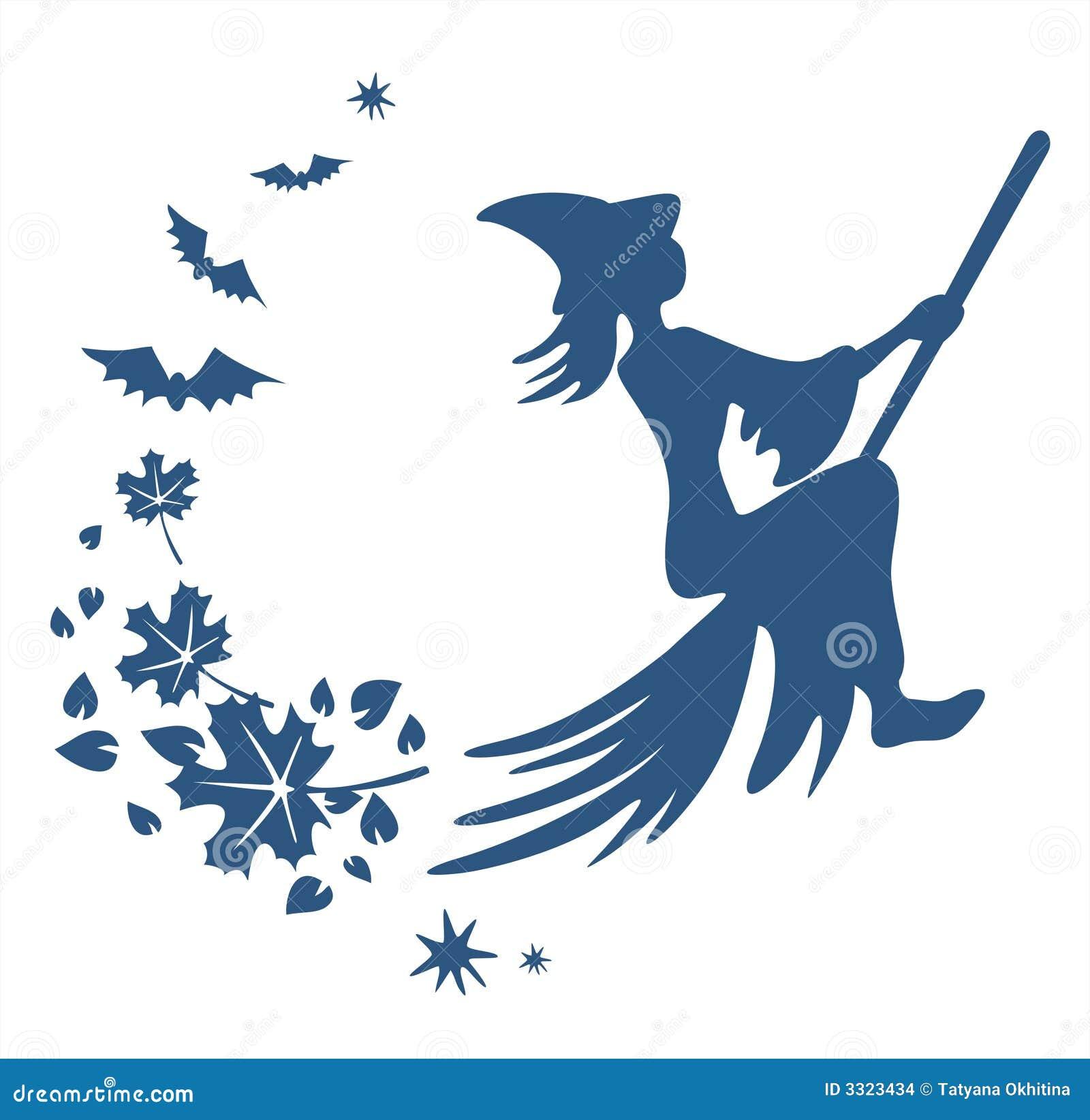 Vliegend heksensilhouet