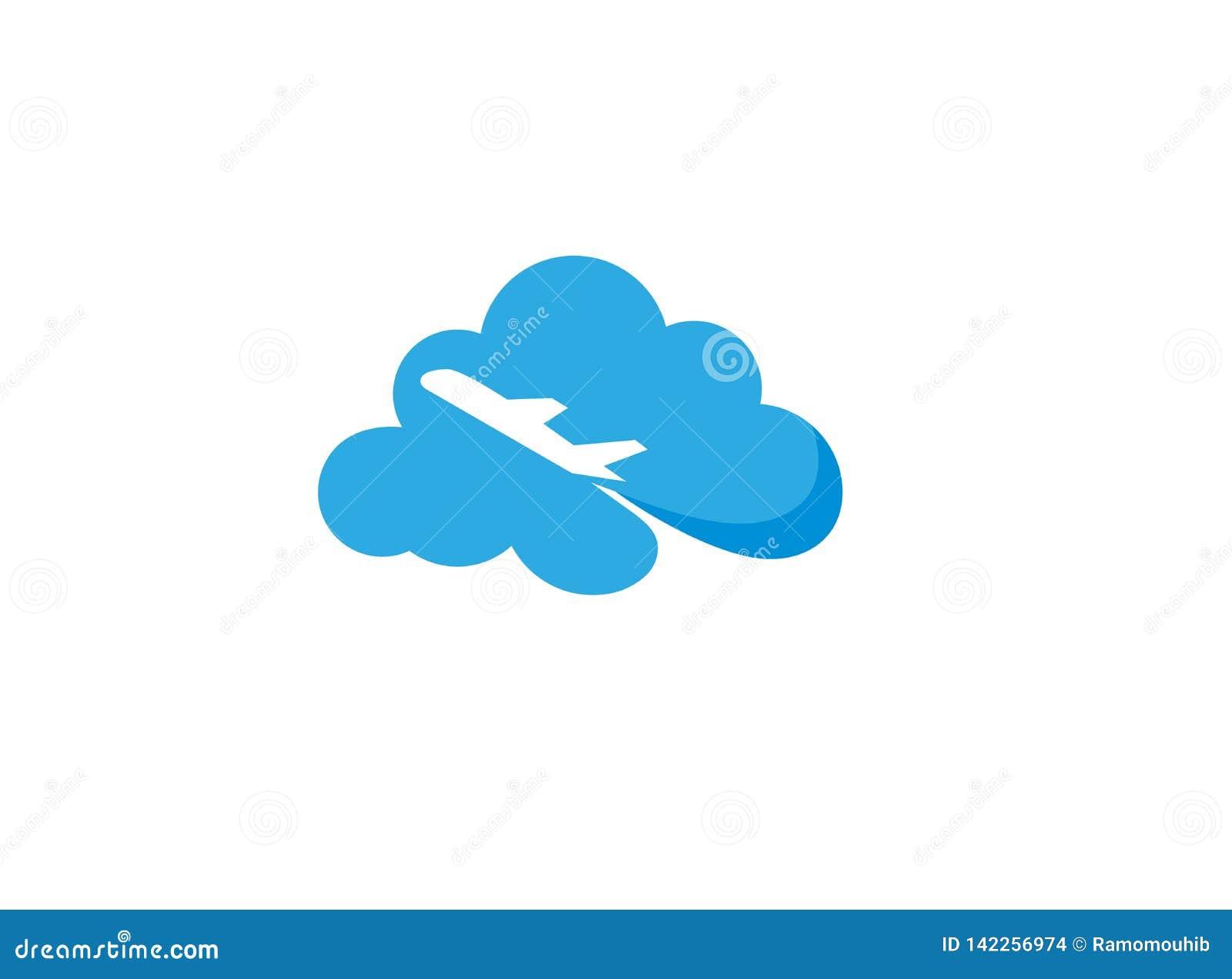Vliegend vliegtuig over een groot wolkenembleem