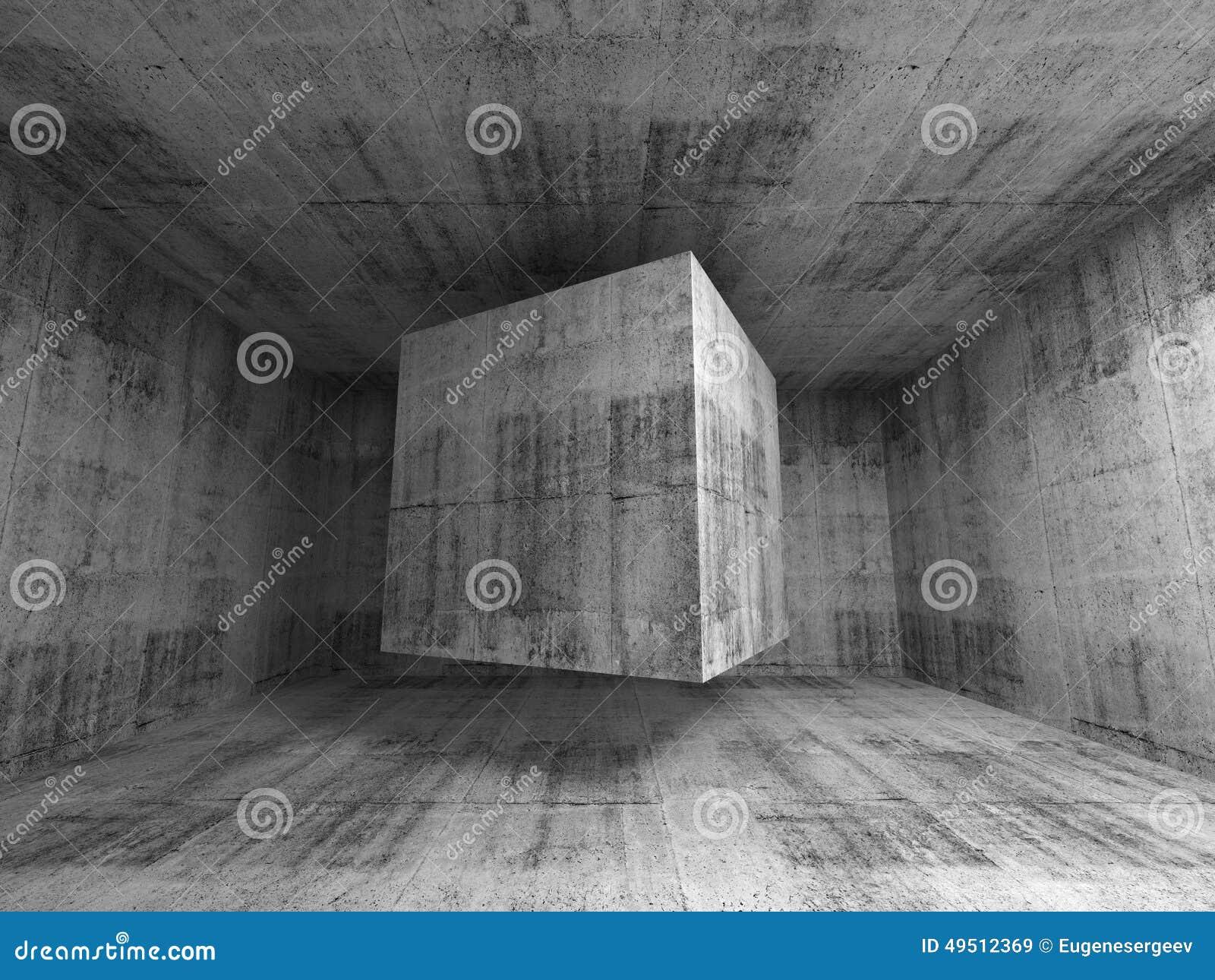Vliegende kubus in abstract 3d concreet ruimtebinnenland