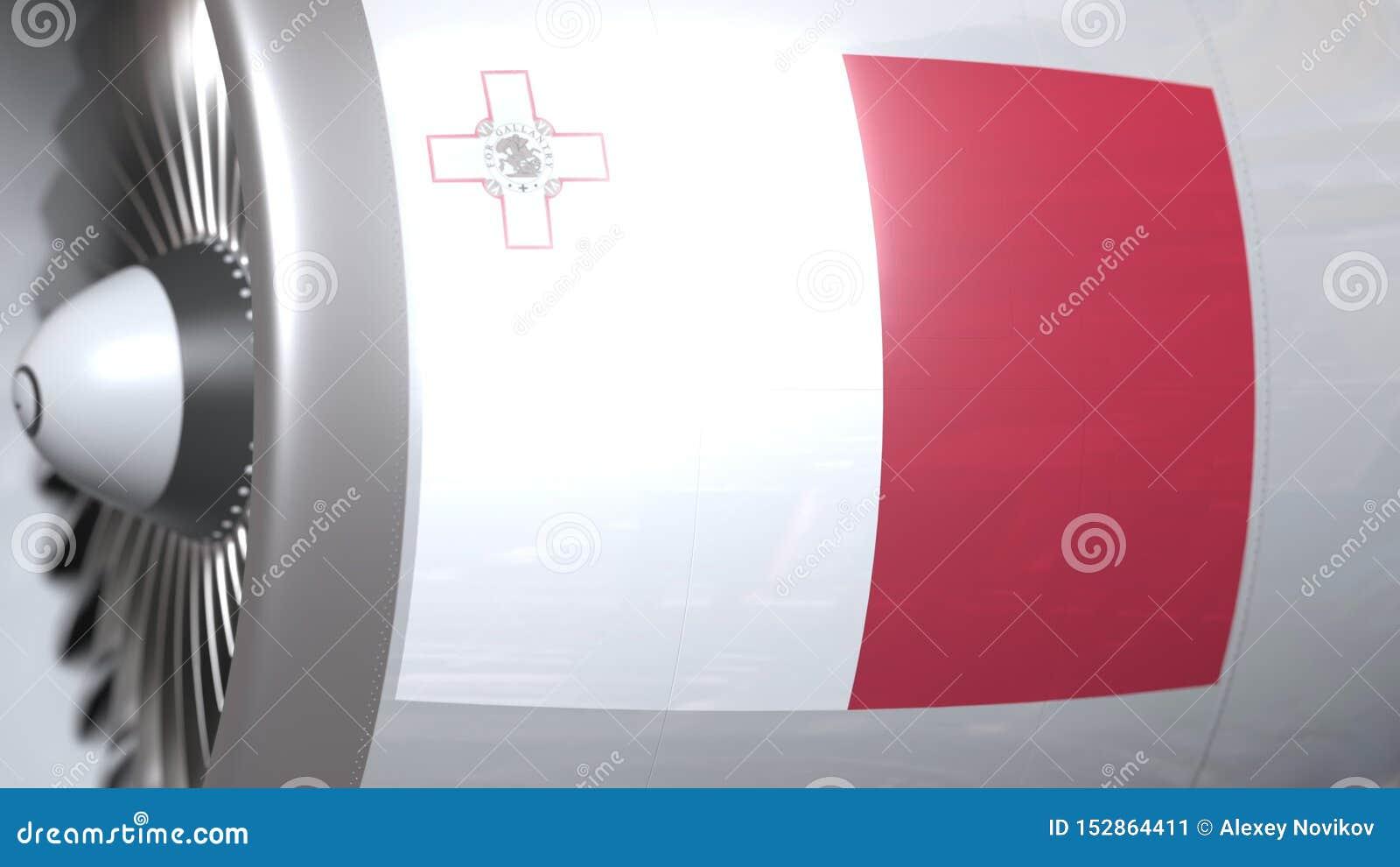 Vliegende vlag van Malta op de motor van vliegtuigtourbine De luchtvaart bracht het 3D teruggeven met elkaar in verband