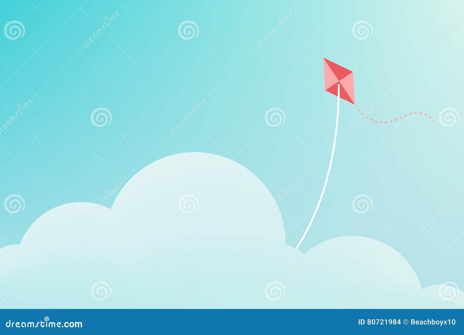 Vlieger die over wolk vliegen