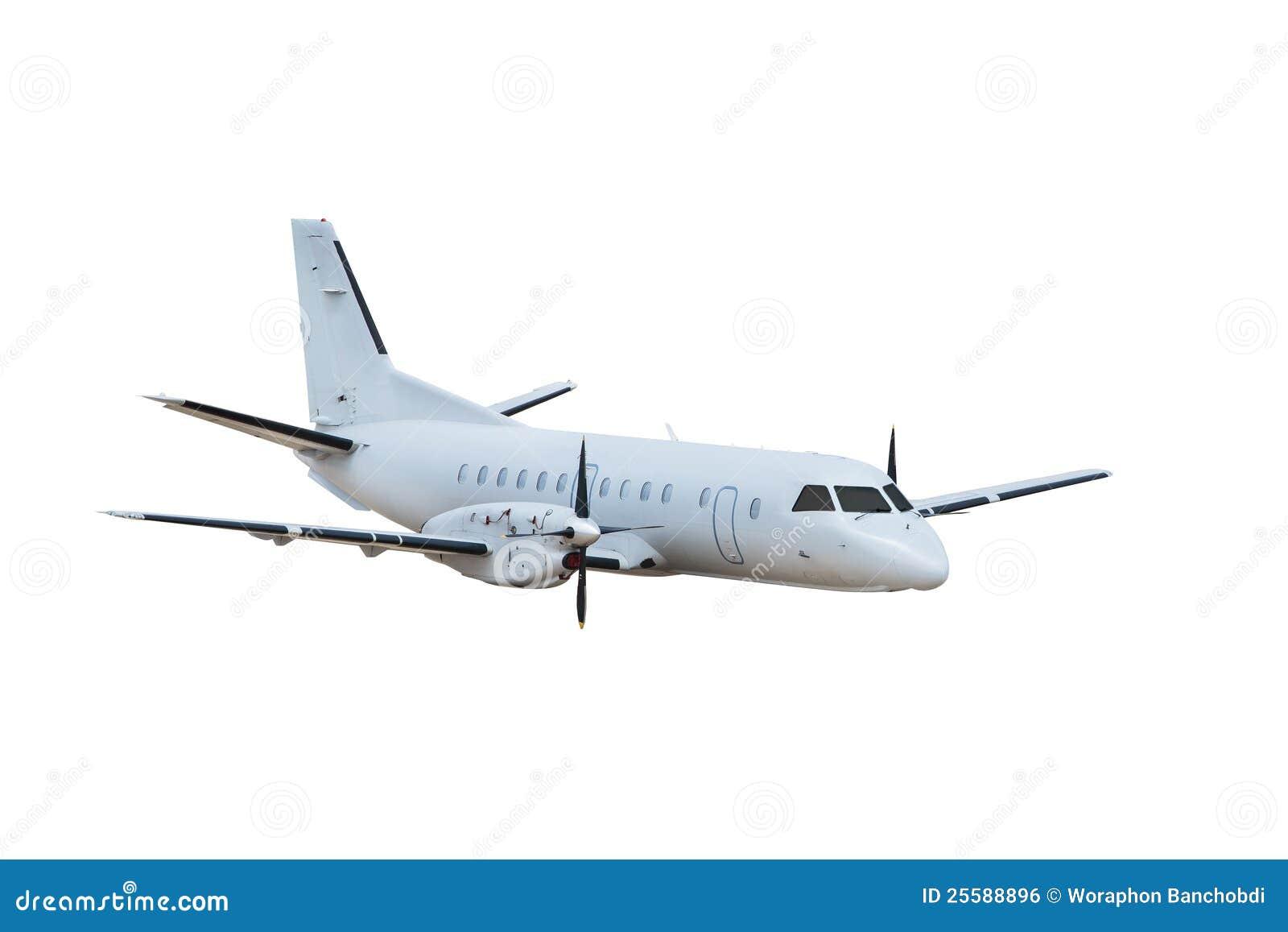 Vliegtuig, dat op witte achtergrond wordt geïsoleerdn