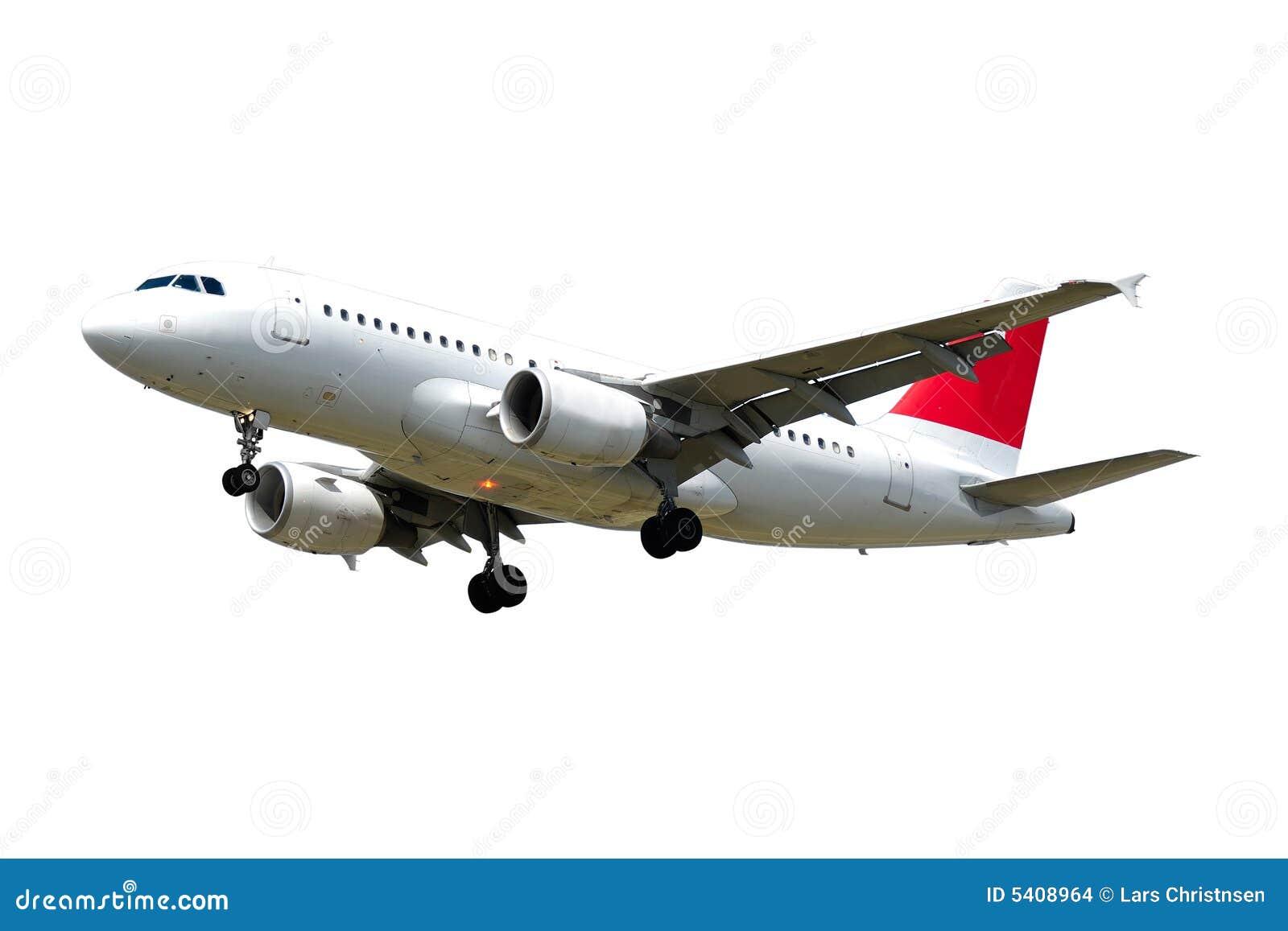 Vliegtuig dat op witte achtergrond wordt geïsoleerdr