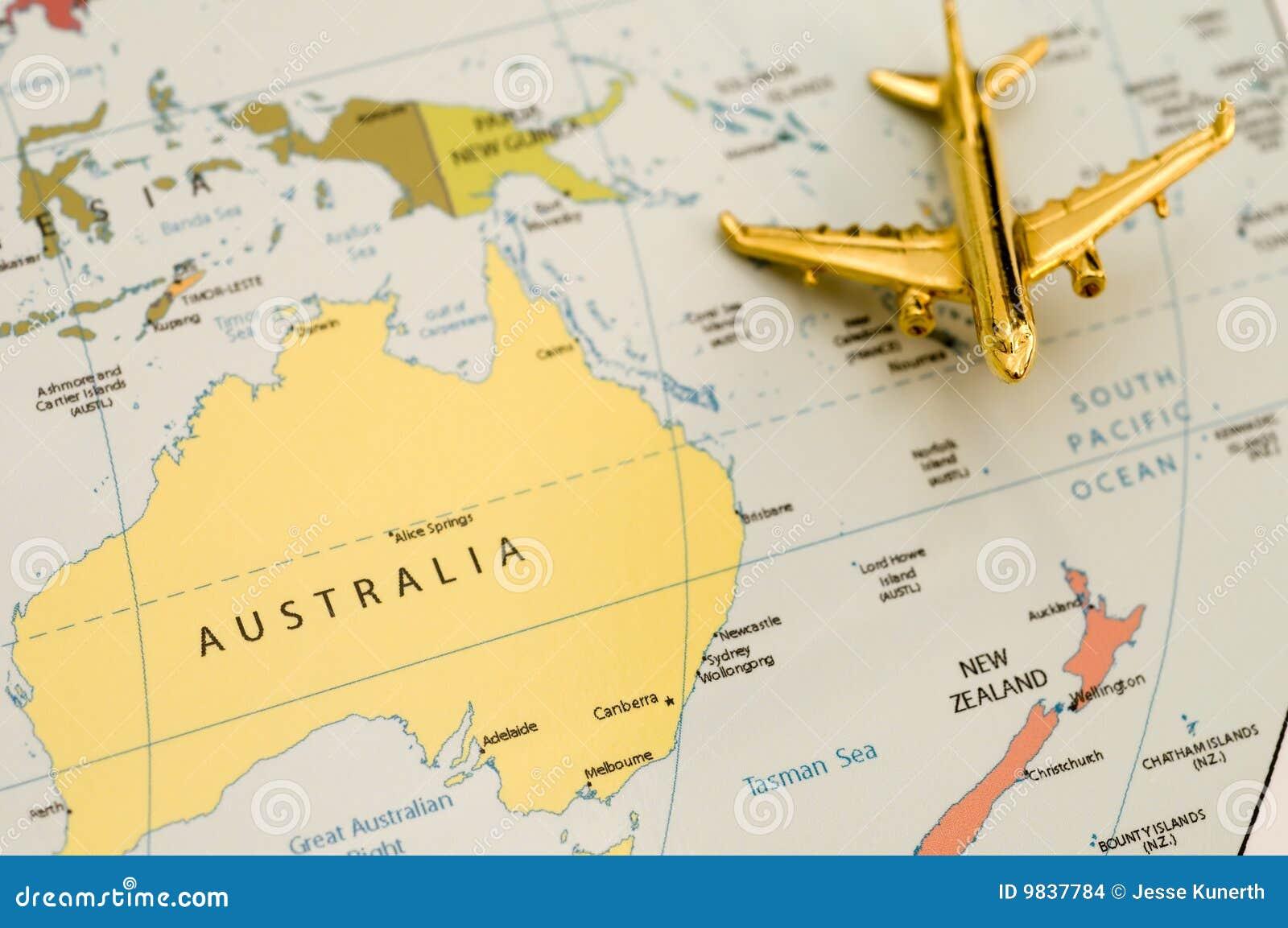 Vliegtuig dat over Australië reist