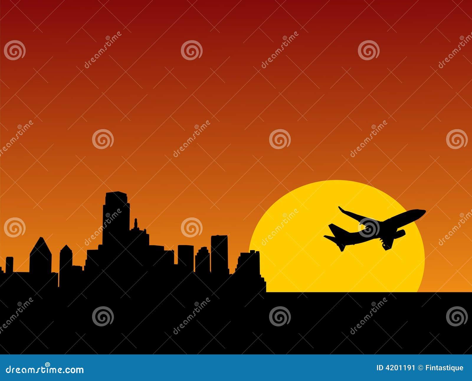 Vliegtuig dat van Dallas van start gaat