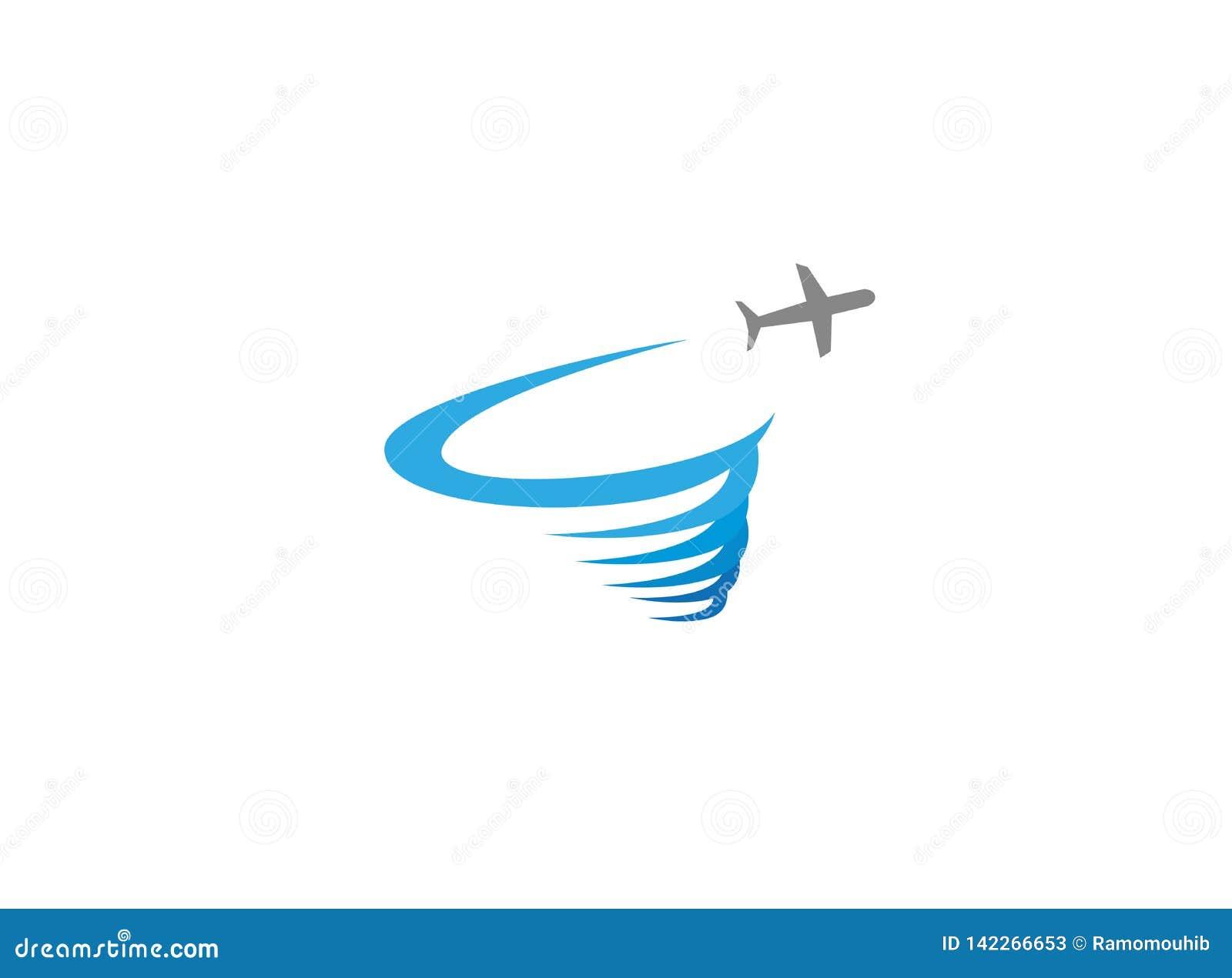 Vliegtuig die en een rond onweersembleem vliegen maken