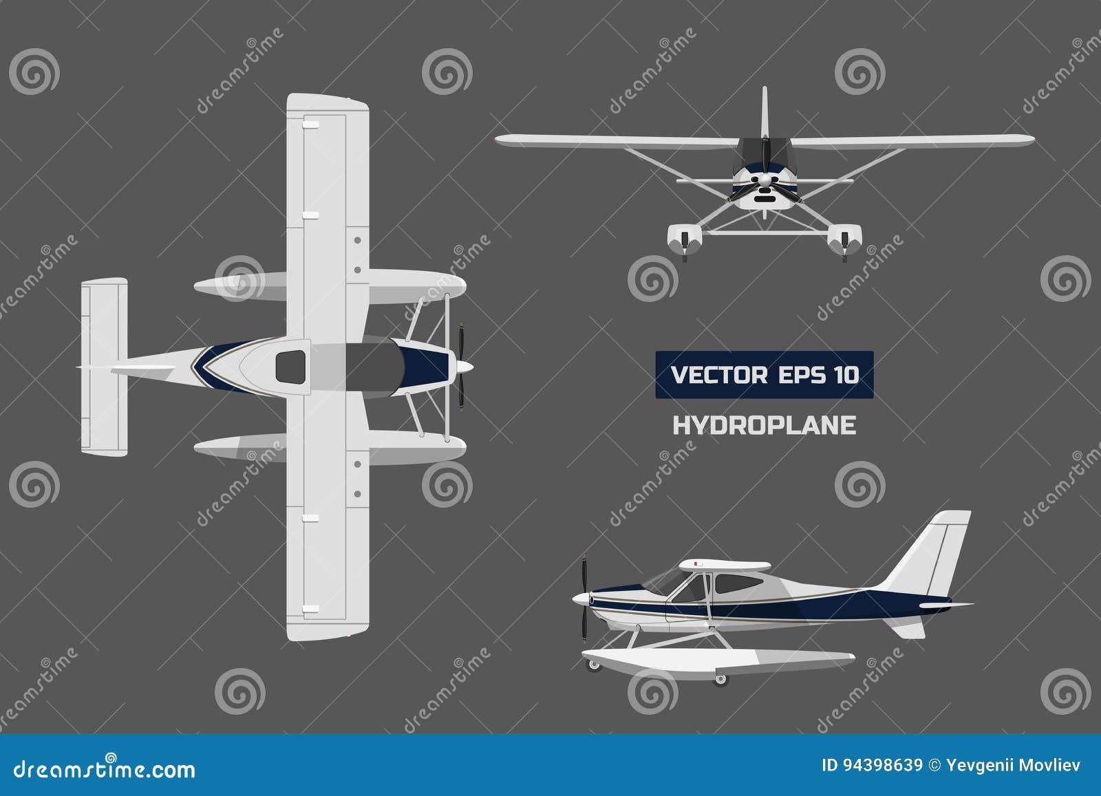 Vliegtuig in een vlakke stijl op een grijze achtergrond Ladingsvliegtuigen Industriële tekening van hydroplane Hoogste, voor en z