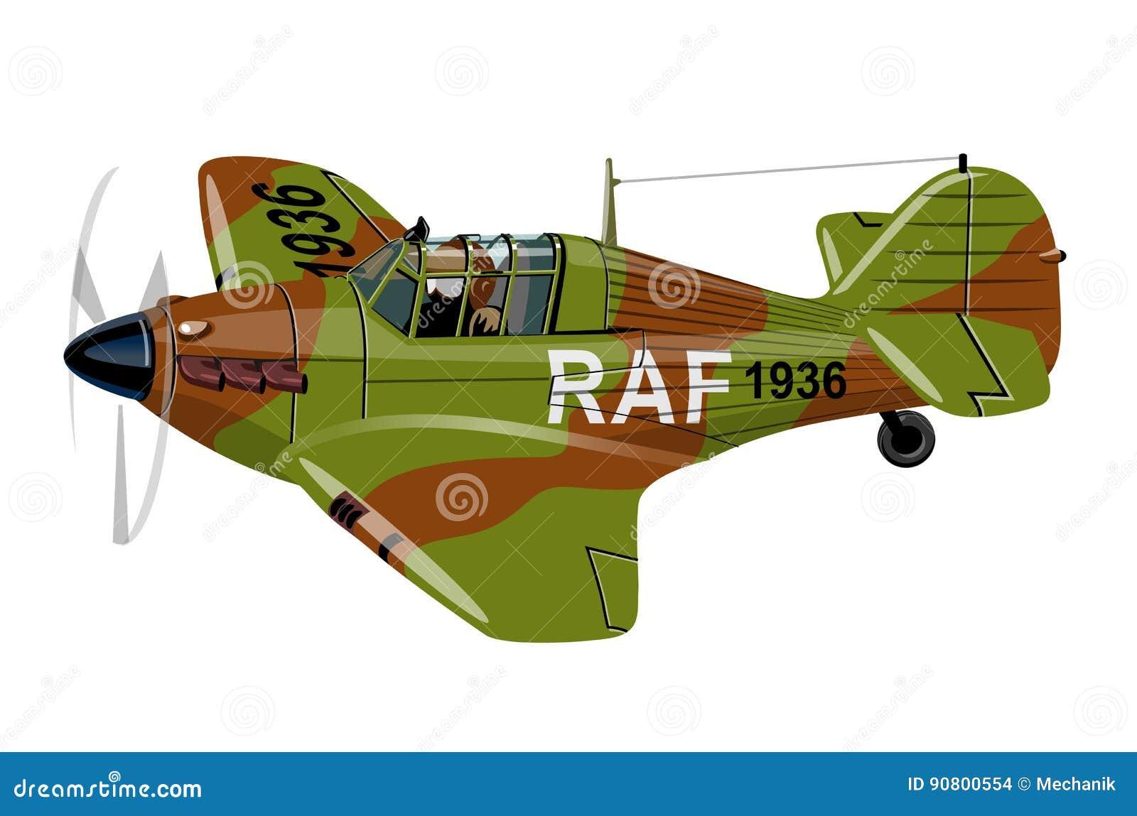 Vliegtuig van de beeldverhaal Retro Vechter