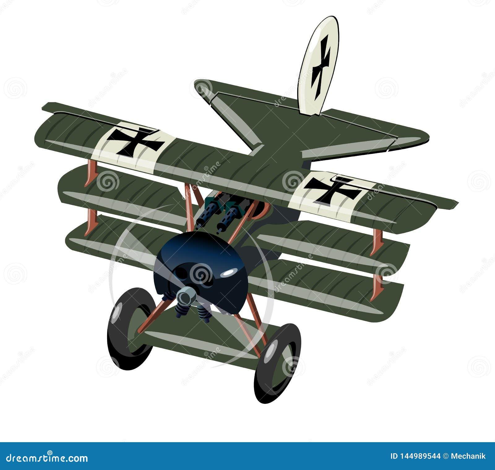 Vliegtuig van de beeldverhaal Retro Vechter op wit wordt ge?soleerd dat