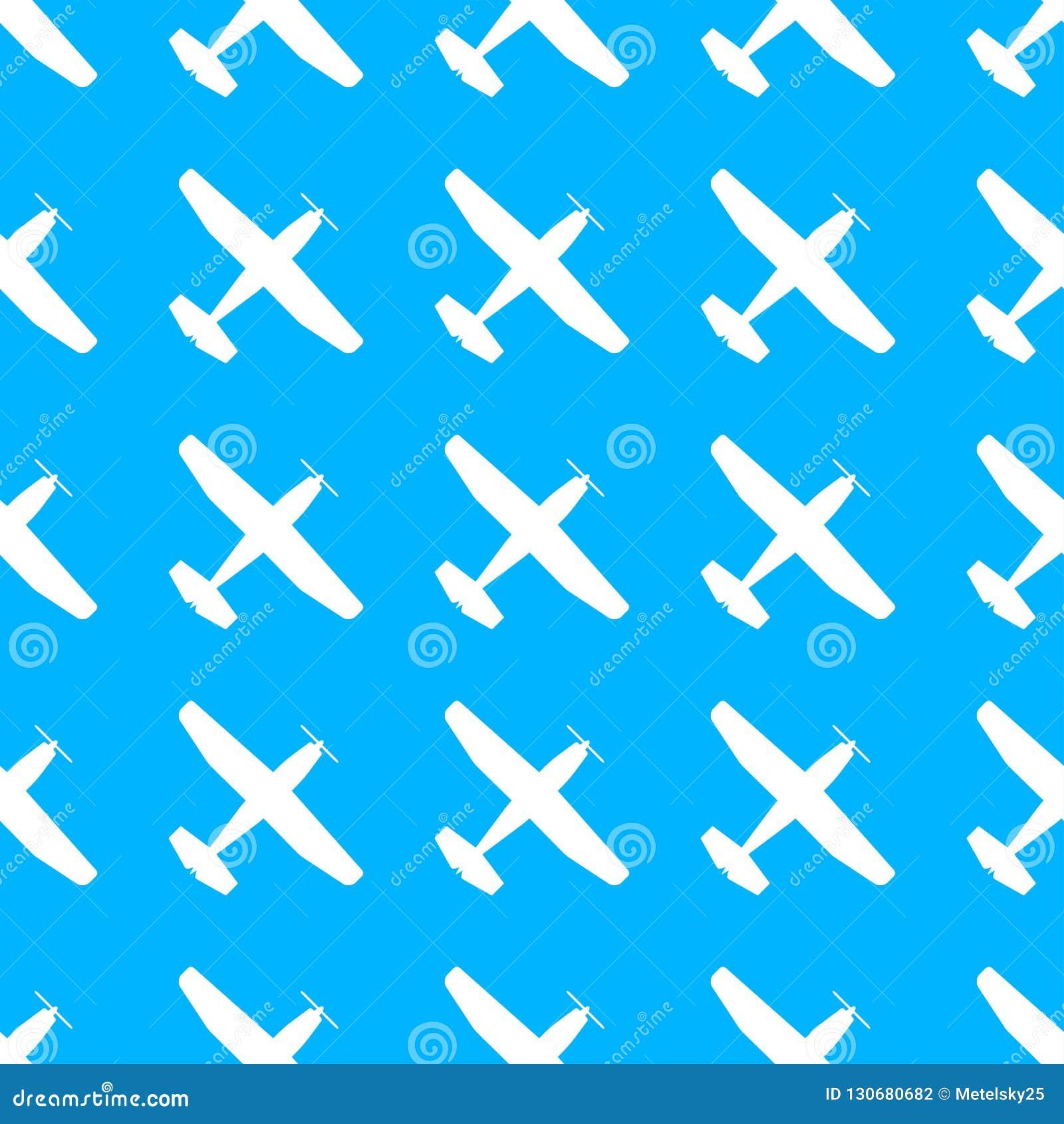 Vliegtuigpatroon Naadloze vliegtuigtextuur Vliegtuigen in de hemel Vector illustratie