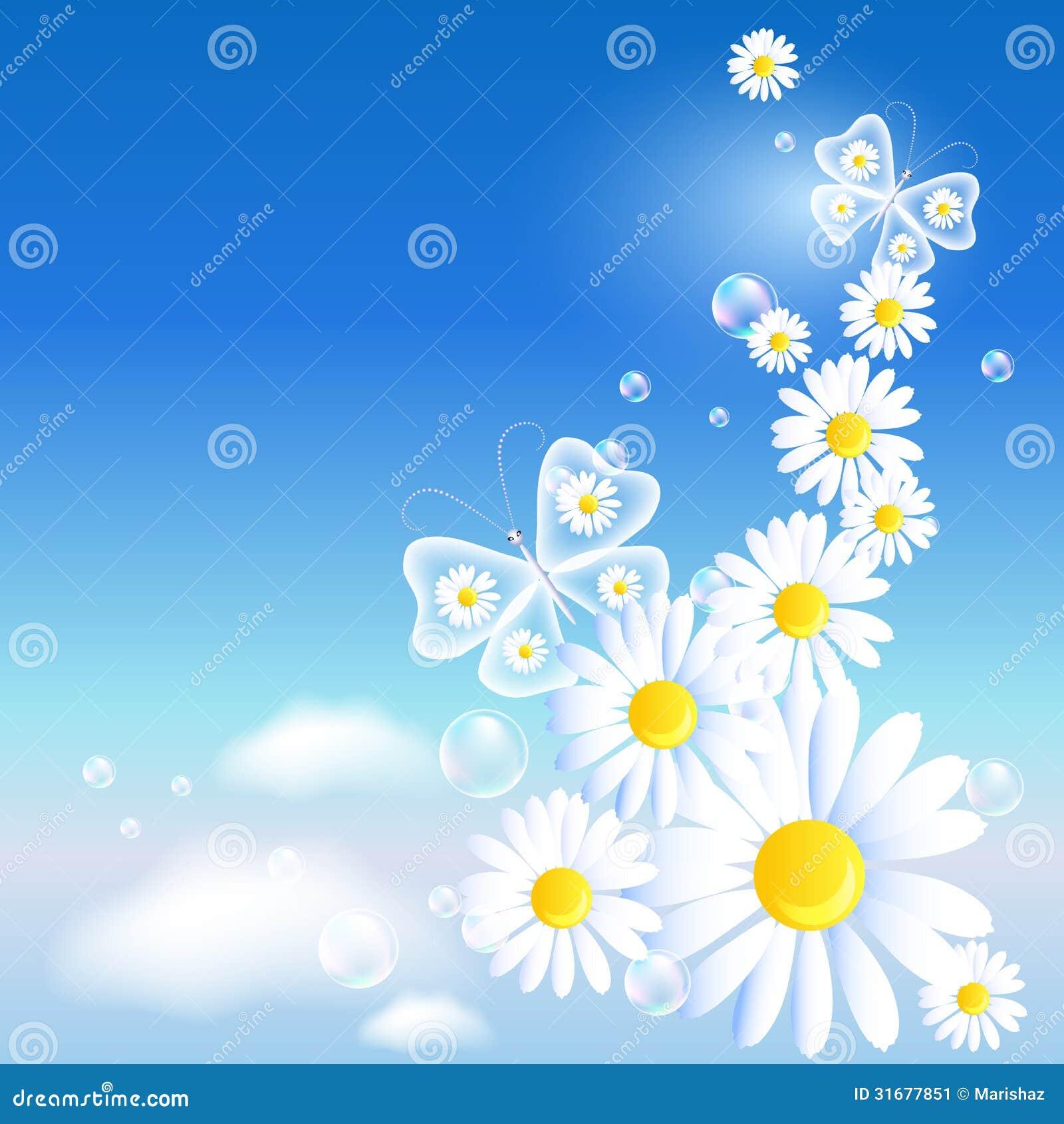 Vlinders en madeliefje in de hemel