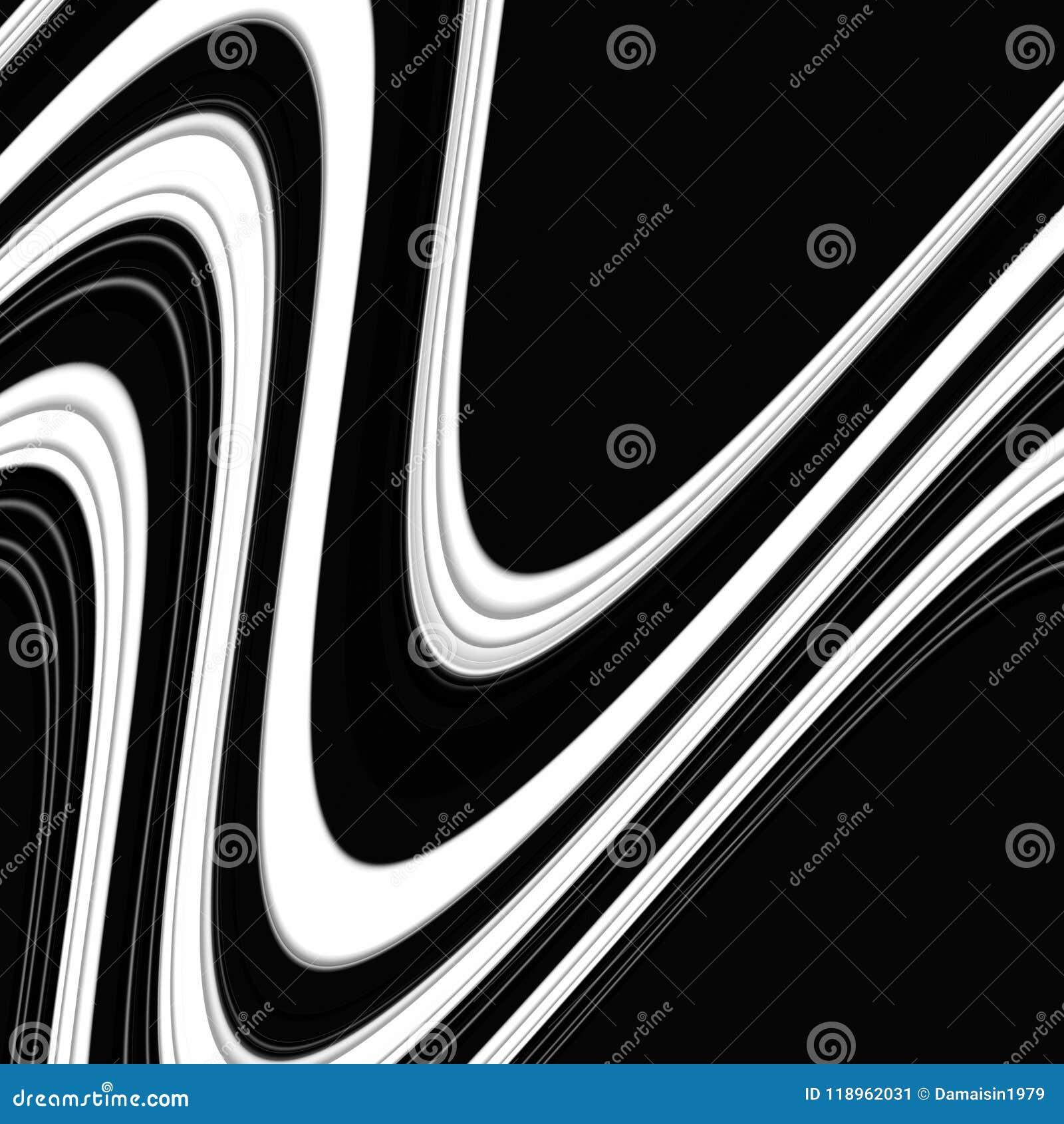 Vloeibare speelse meetkunde in zwarte witte tinten, abstracte achtergrond, fantasie