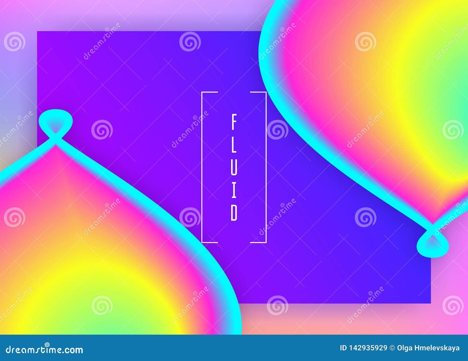 Vloeibare vloeistof met dynamische elementen en vormen Landende Pagina