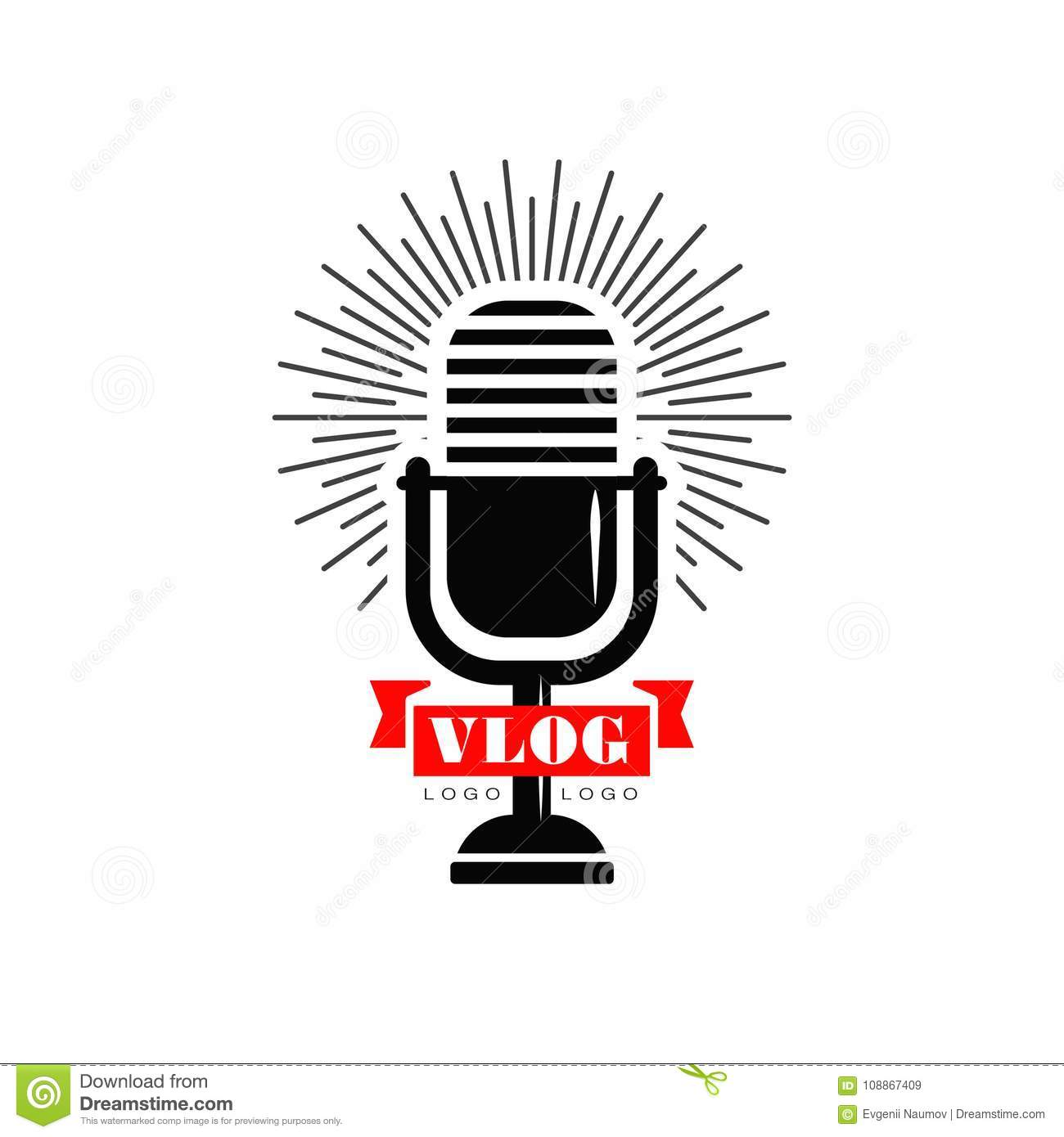 Vlog And Blog Logo With Black Retro Microphone And Red ...