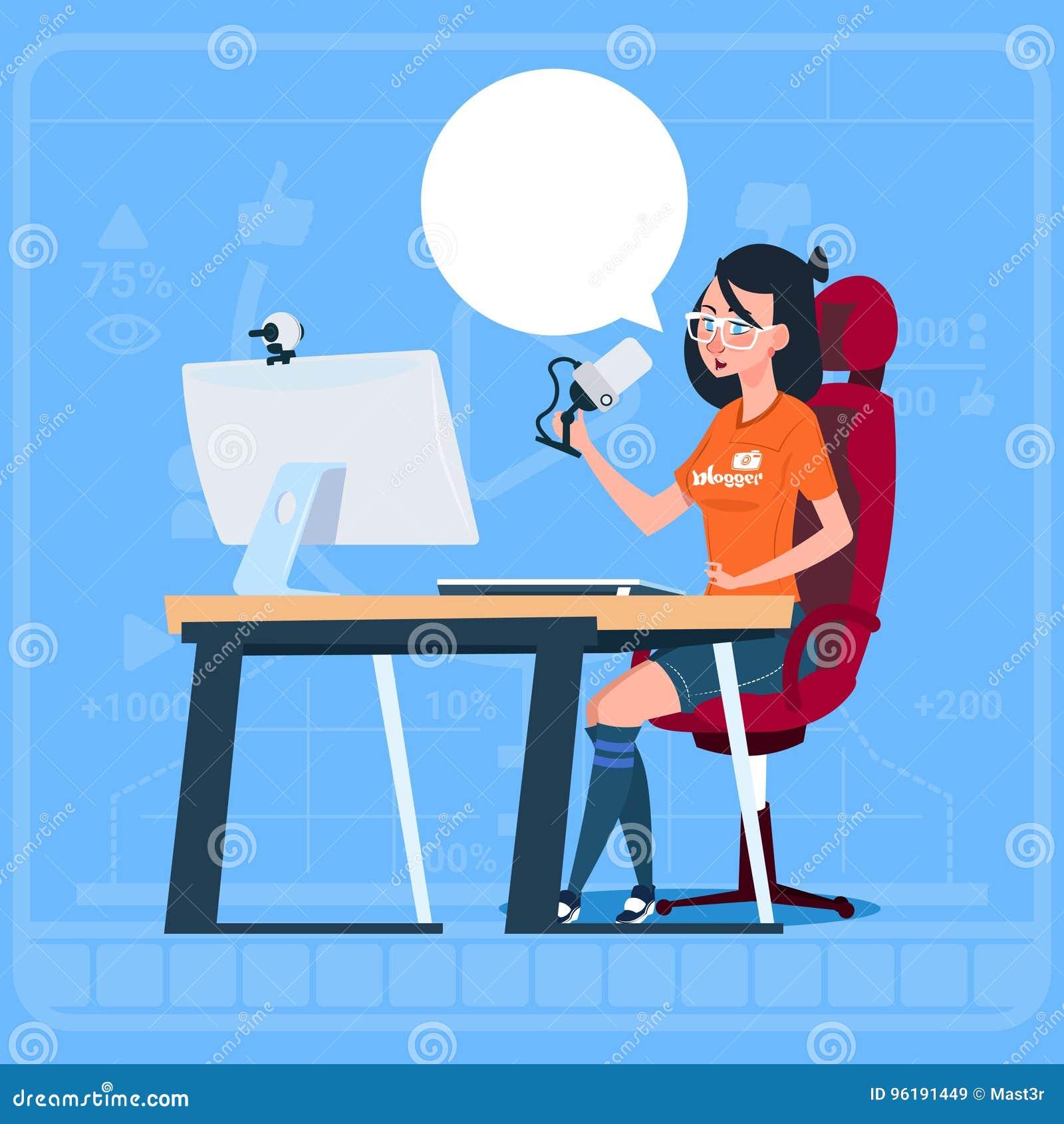 Vlog för skapare för flickaBloggerSit At Computer Streaming Video bloggar populär kanal