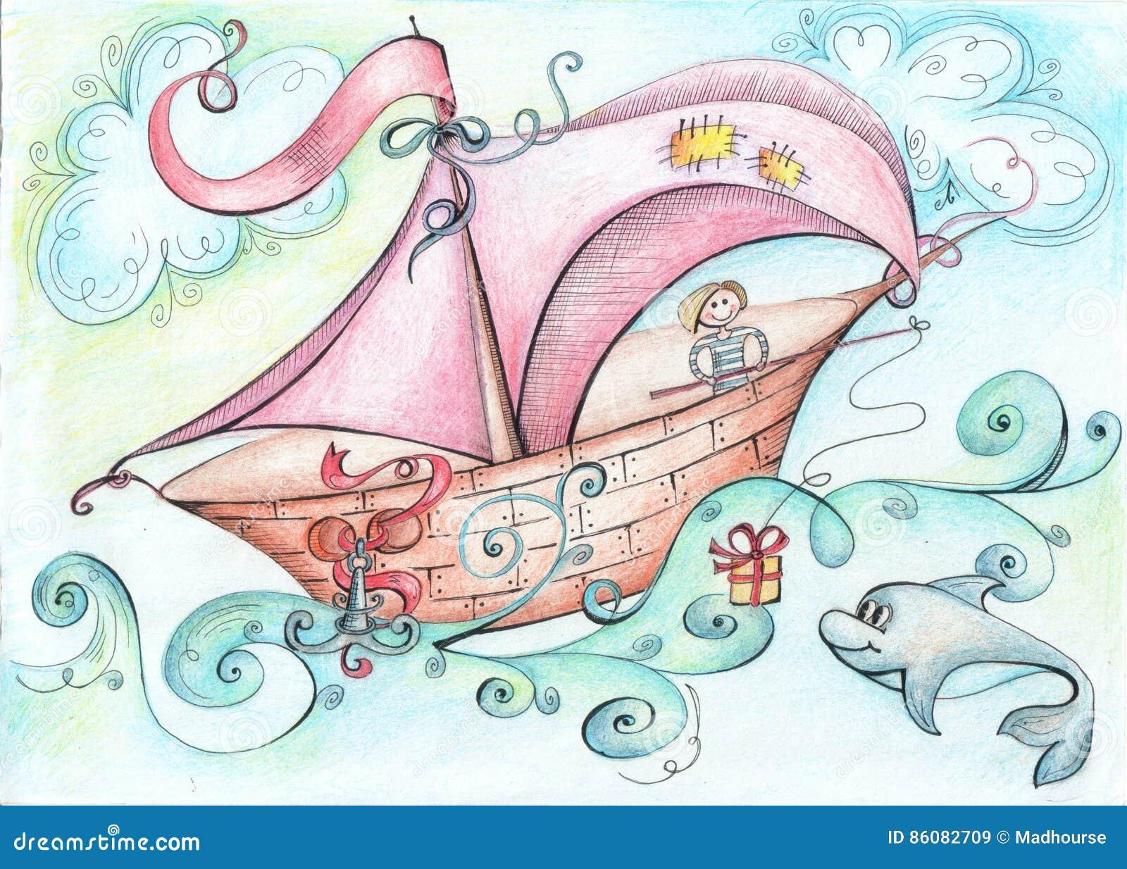 Vlotters van de illustratie wierpen de fantastische boot op de oceaan aan boord van een mens een gift voor dolfijnhengel