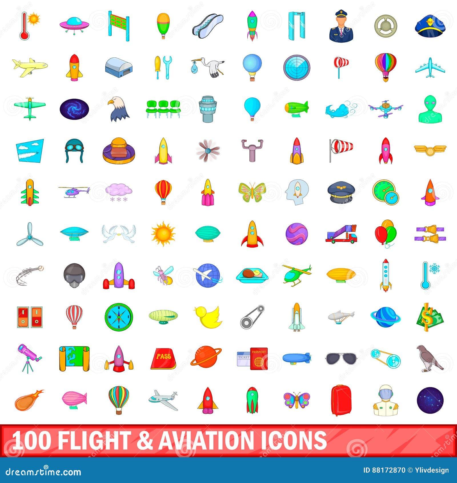 100 vlucht en luchtvaart geplaatste pictogrammen, beeldverhaalstijl