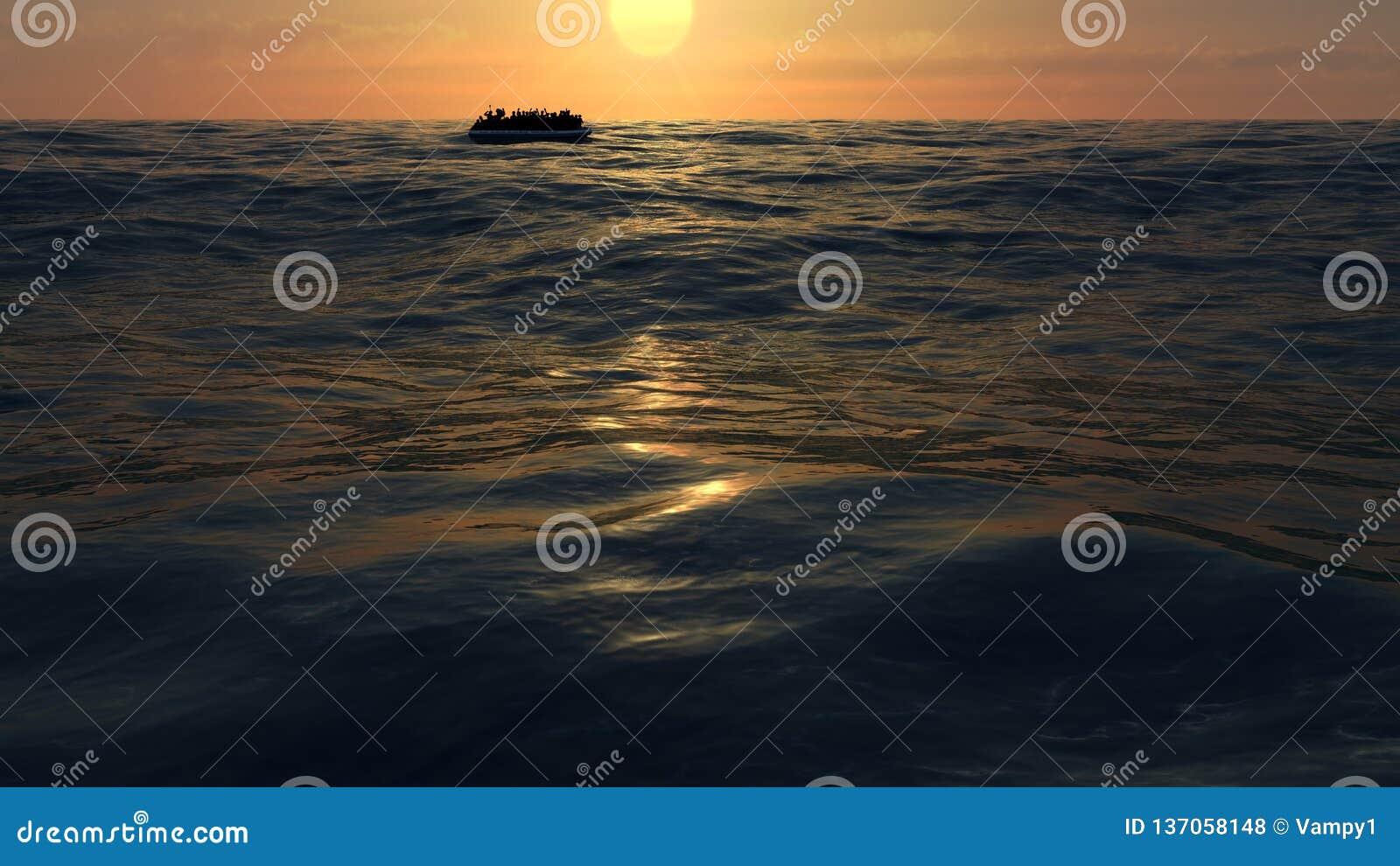 Vluchtelingen op een grote rubberboot in het midden van het overzees die hulp vereisen