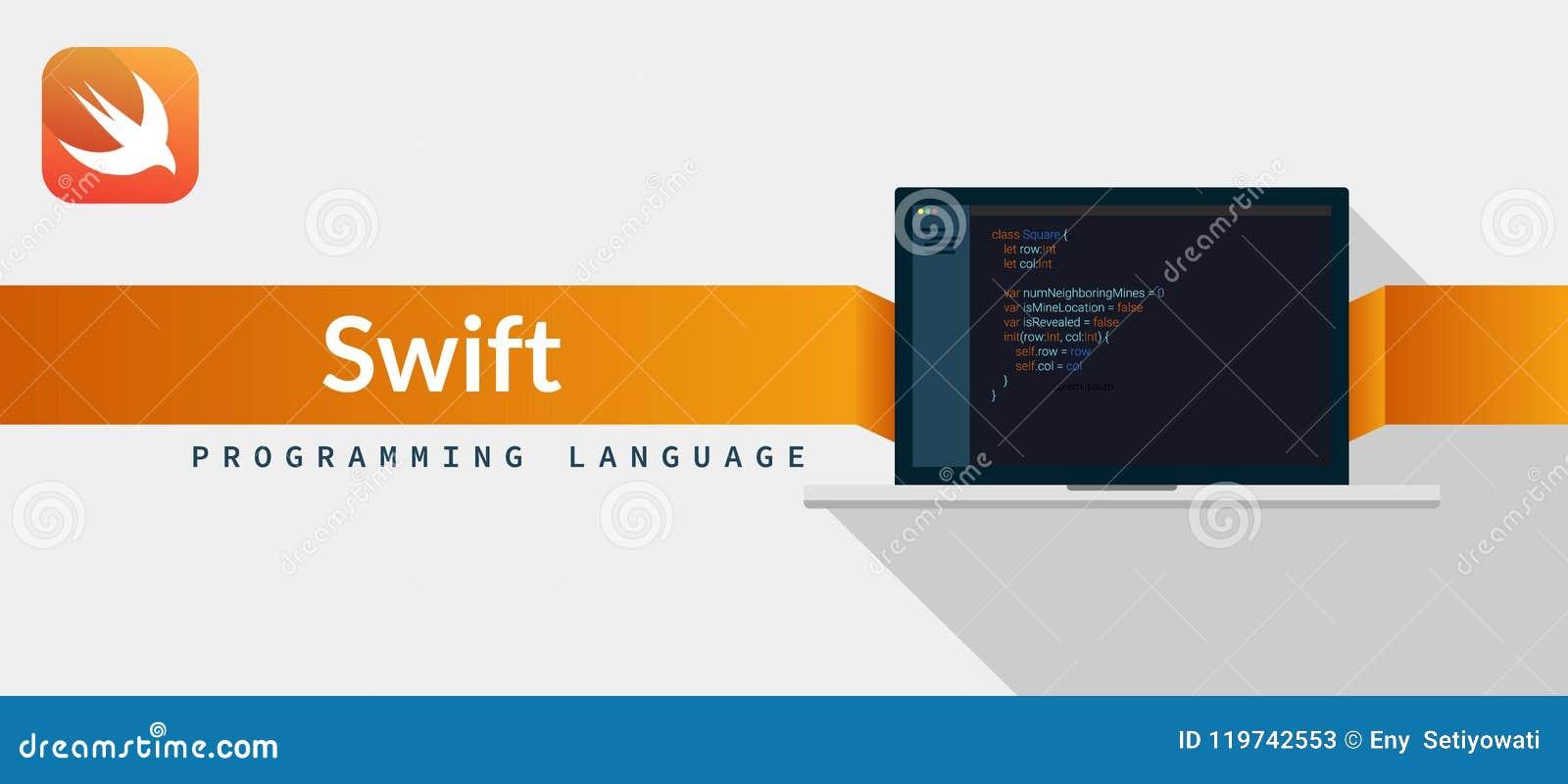 Vlugge programmeertaal voor iOS, MAC OS van appel met manuscriptcode inzake laptop het scherm, de illustratie van de programmeert