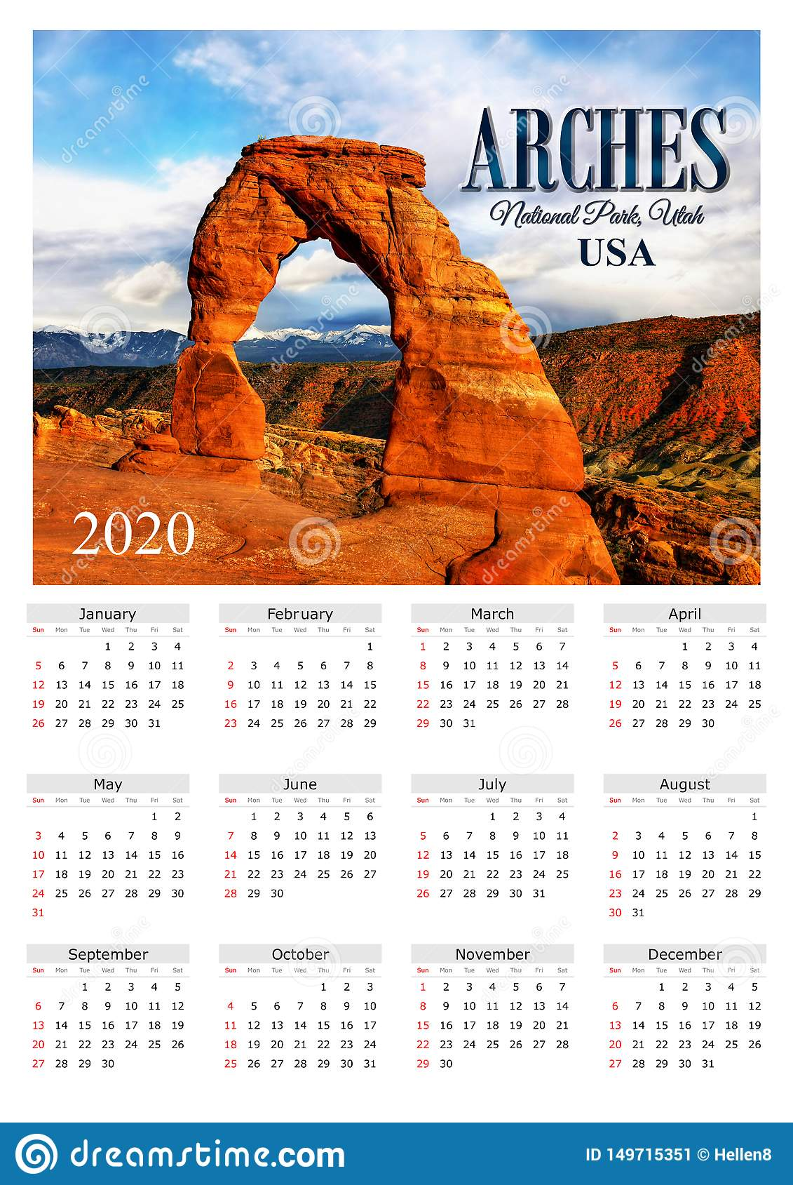Calendrier National 2020.Voutes Np Etats Unis De L Affiche 2020 De Calendrier Image