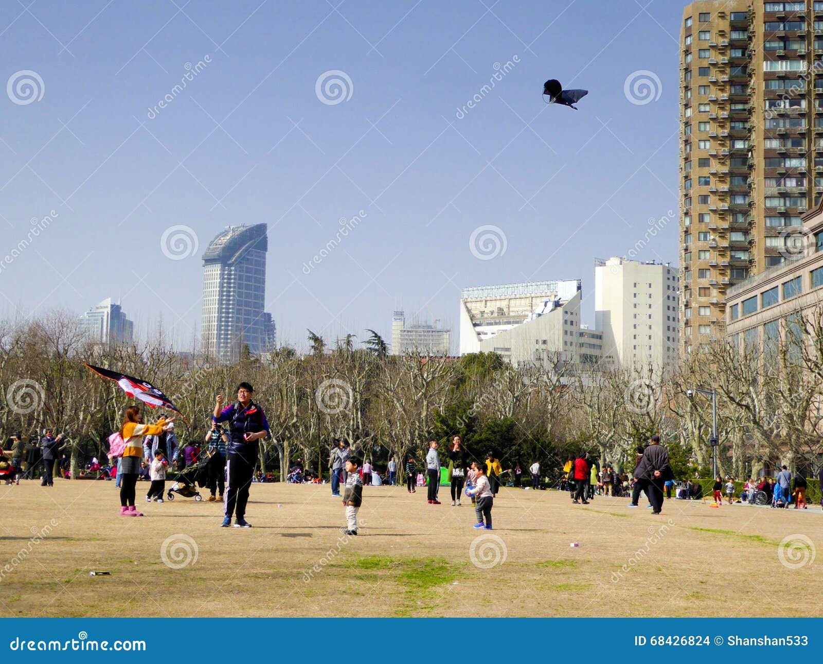 Voando um papagaio dentro do parque de Fuxing