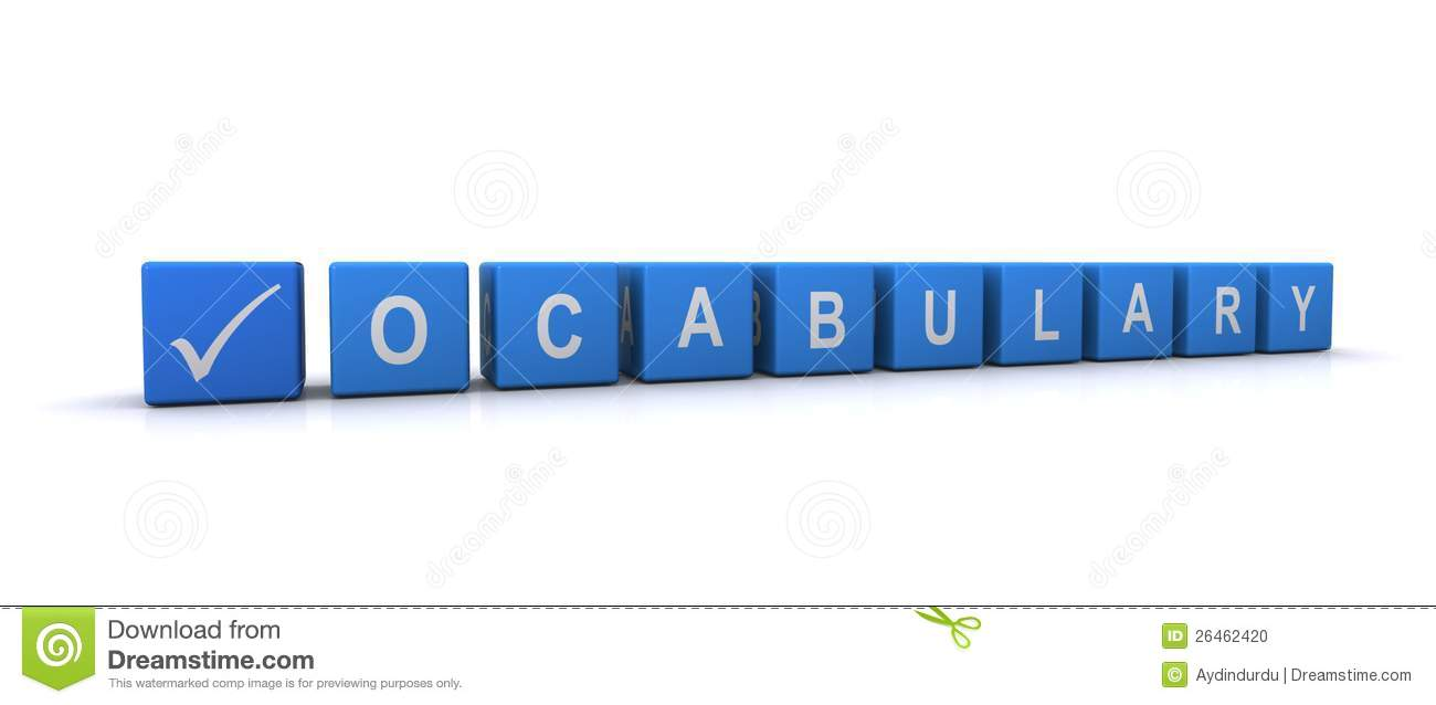 Lettering blocks spelling word vocabulary with check or tick mark ...