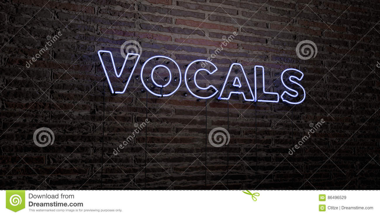 VOCALS -Realistic Neon Sign On Brick Wall Background - 3D