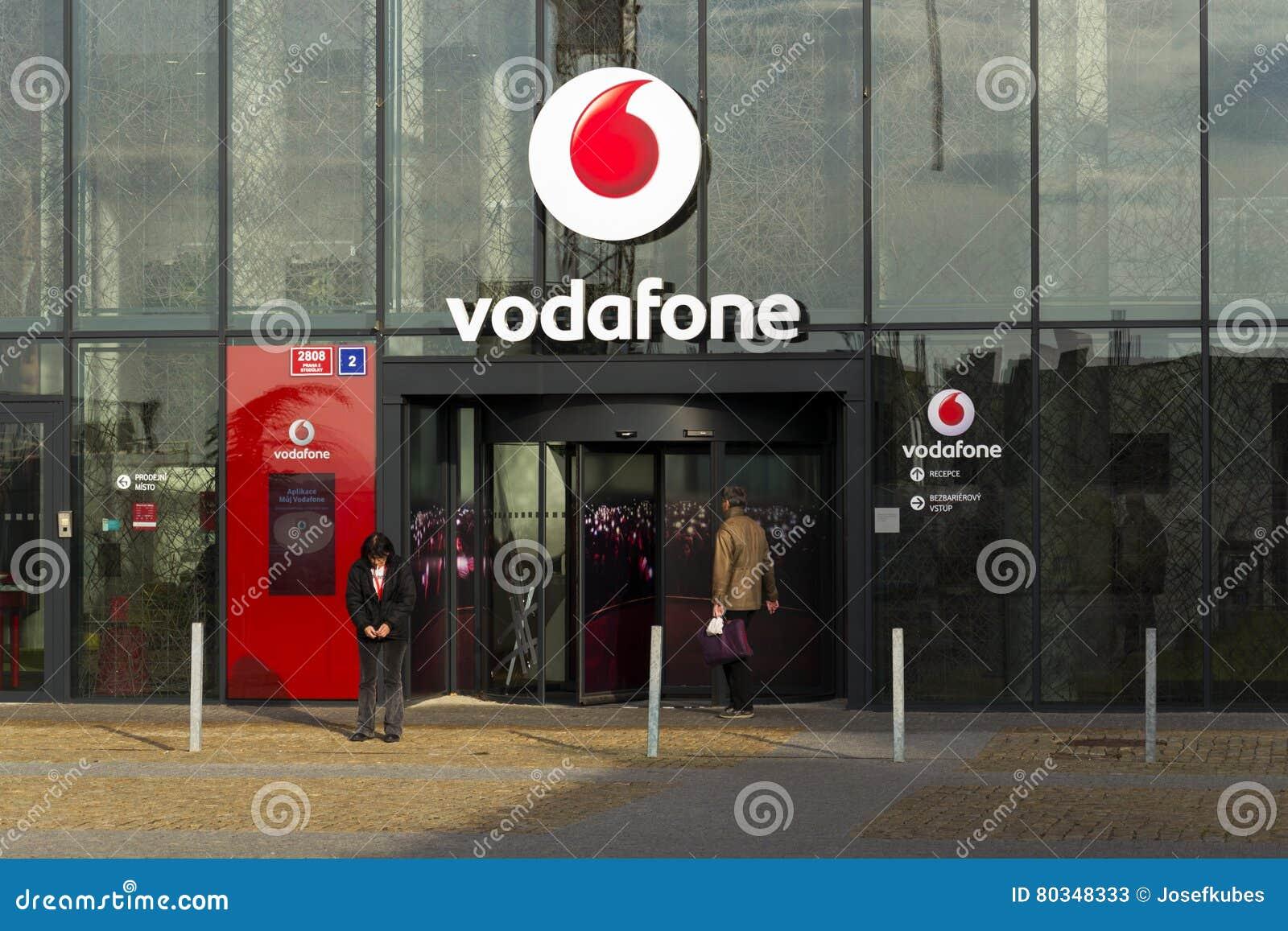 Vodafone Telecommunications Company Logo On Czech Headquarters