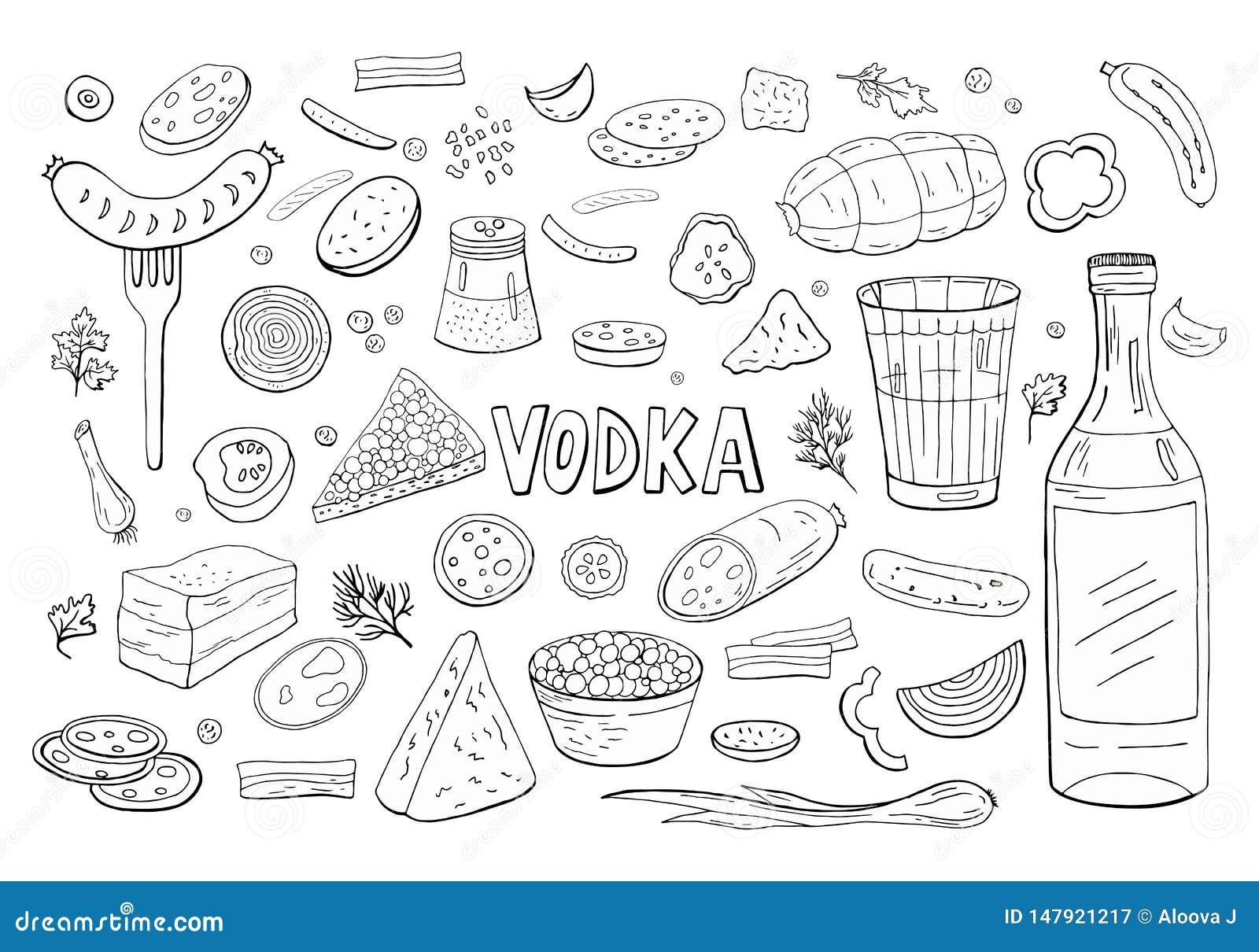 Vodka russe et différent noir et blanc d éléments de nourriture d isolement sur le blanc