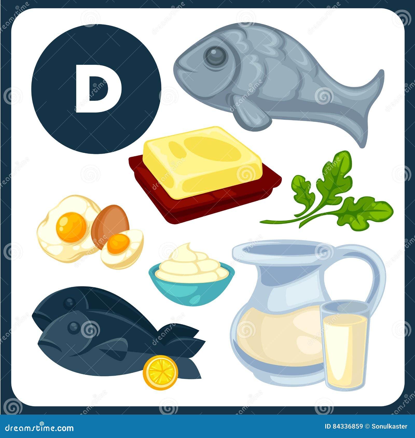 Voedselillustraties Met Vitamine D Vector Illustratie Illustratie Bestaande Uit Gezond Dieet 84336859