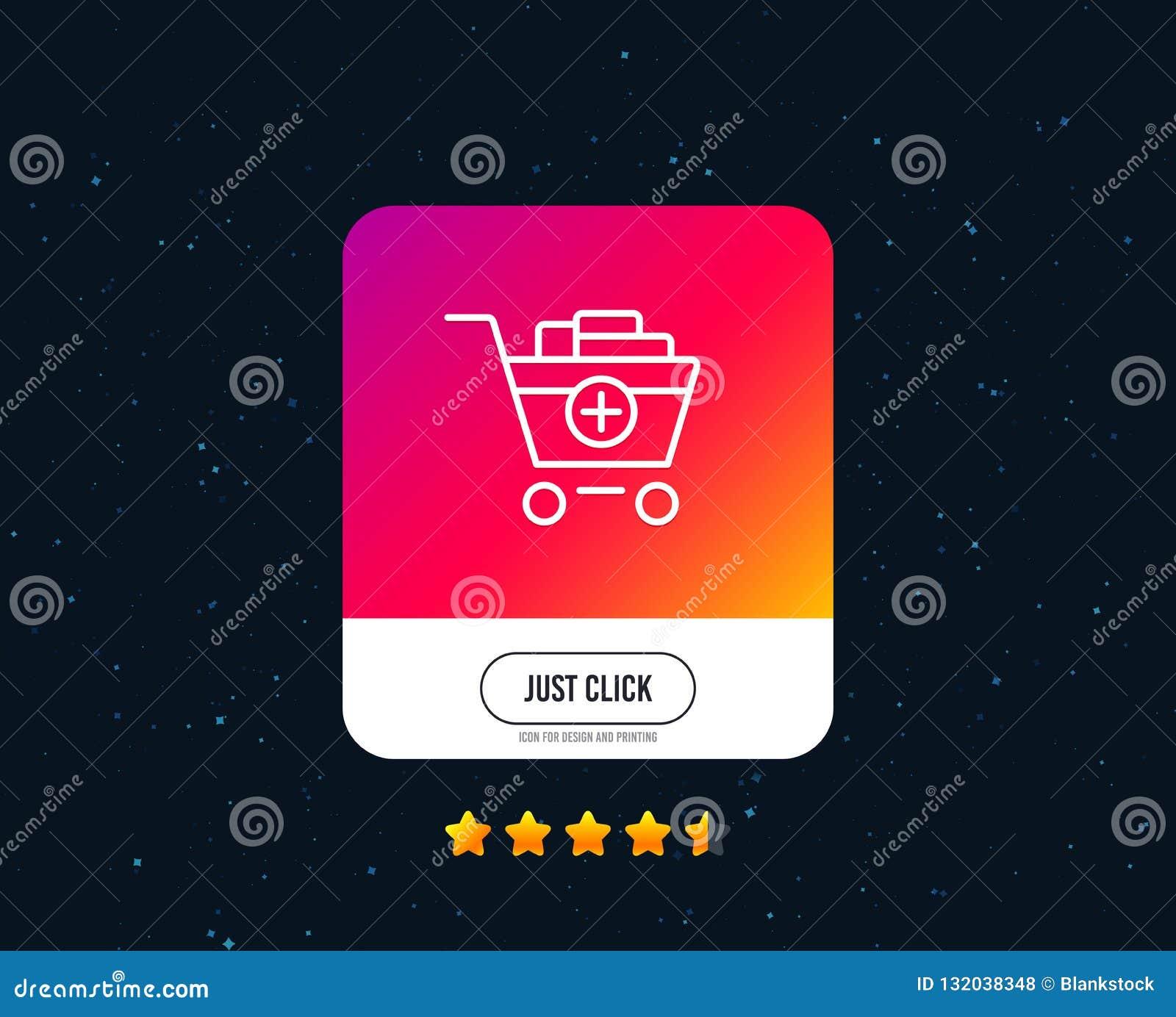 Voeg aan het pictogram van de boodschappenwagentjelijn toe Online kopend Vector